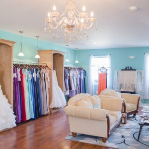 Inside of the boutique, Blush Bridal, located in Lancaster, PA