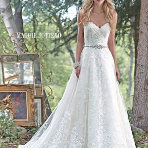 Sleeveless white wedding dress with lace by Maggie Sottero available at Blush Bridal in Lancaster, PA