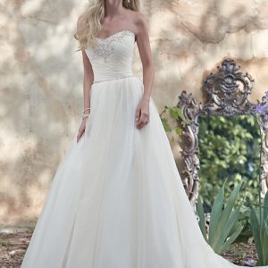 White sweetheart wedding dress with tulle by Maggie Sottero available at Blush Bridal in Lancaster, PA