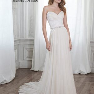 Sweetheart wedding dress with a hint of pink by Maggie Sottero at Blush Bridal in Lancaster, PA