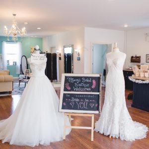 Wedding dresses on display at Blush Bridal in Lancaster, PA.