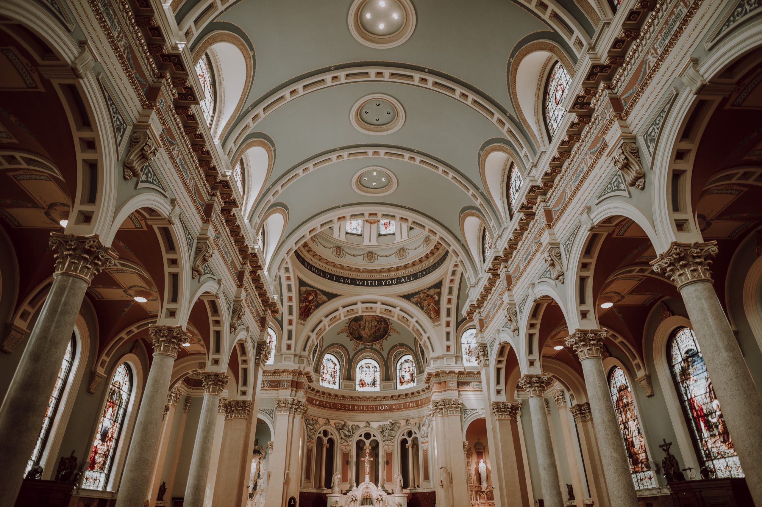 Cathedral ceilings that scream gothic era like crazy. Captured by Lovefusion Photography at Stock's Manor in Mechanicsburg, PA. Featured on Dream Weddings.