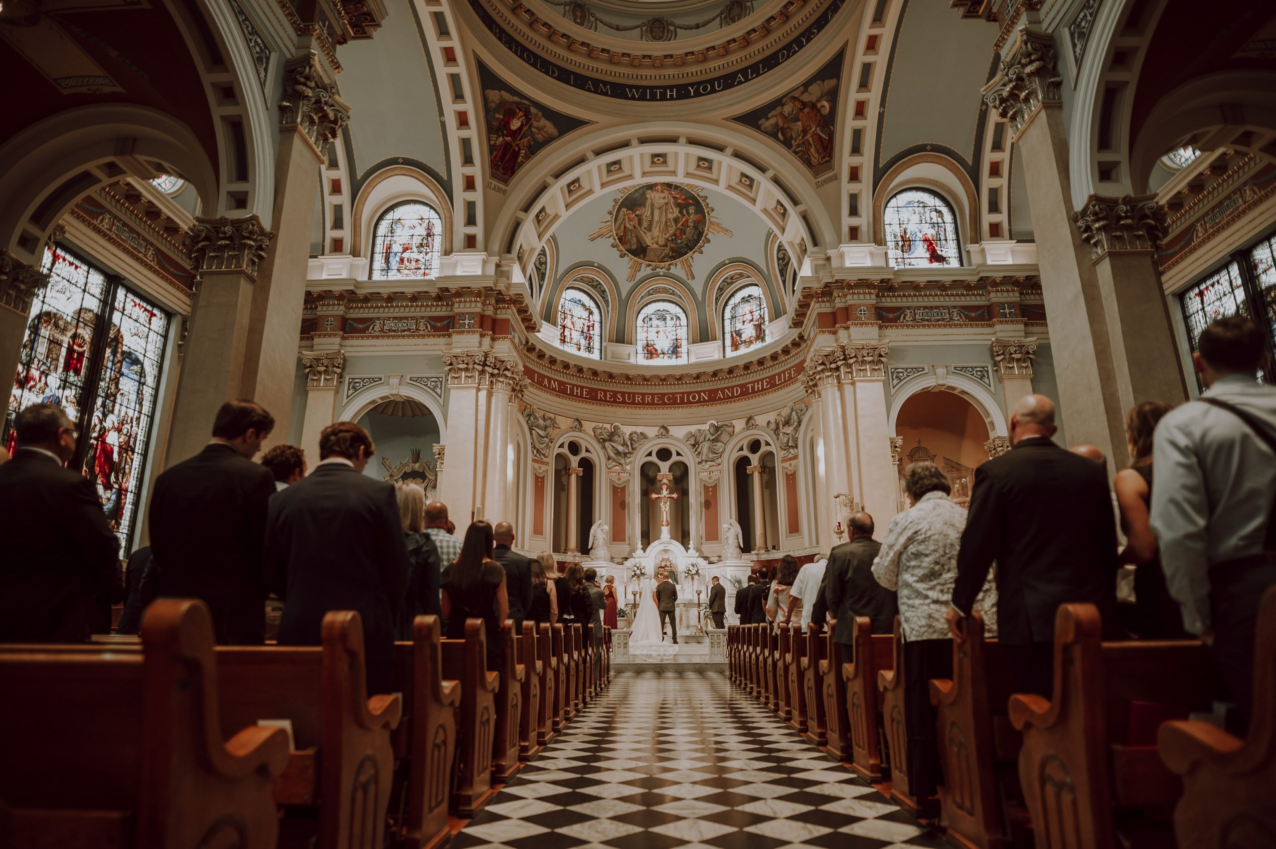 What a cathedral. Churches are not as popular now, but Andrew and Paige slayed their ceremony. Captured by Lovefusion Photography at Stock's Manor in Mechanicsburg, PA. Featured on Dream Weddings.