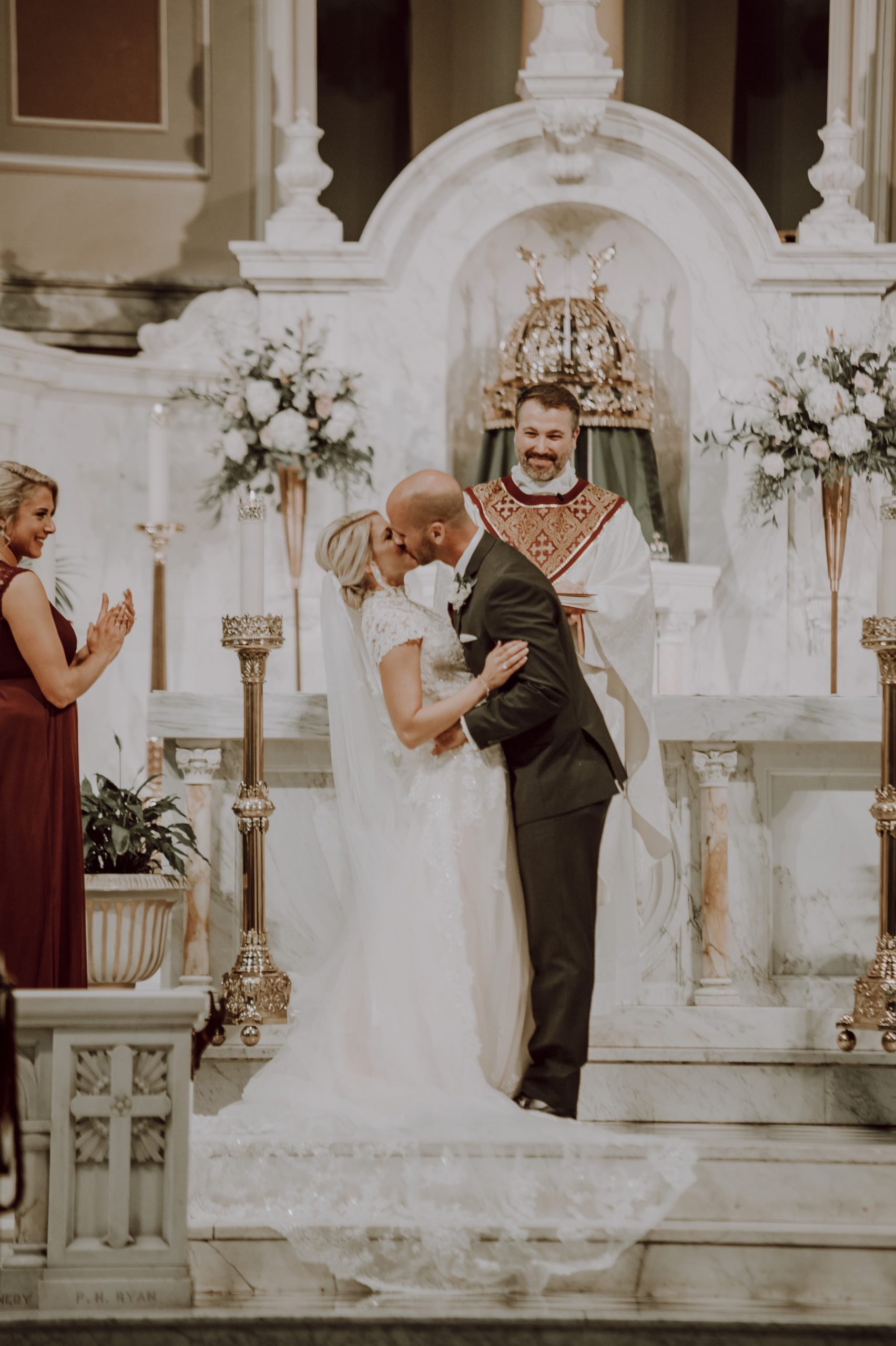 I now pronounce you, husband and wife. Captured by Lovefusion Photography at Stock's Manor in Mechanicsburg, PA. Featured on Dream Weddings.