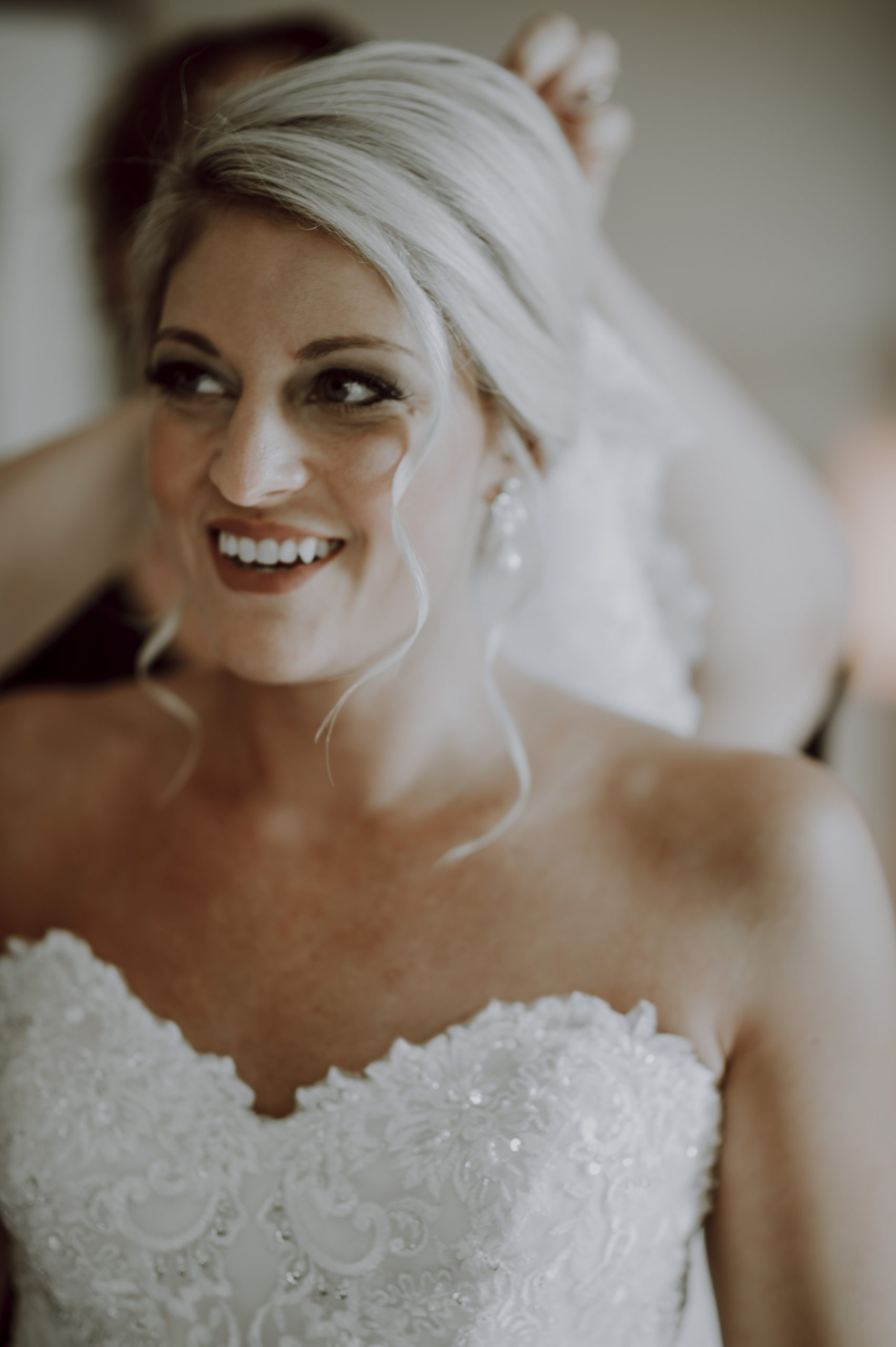 A sparkling sweetheart wedding dress that would catch the eye of any groom. Captured by Lovefusion Photography at Stock's Manor in Mechanicsburg, PA. Featured on Dream Weddings.