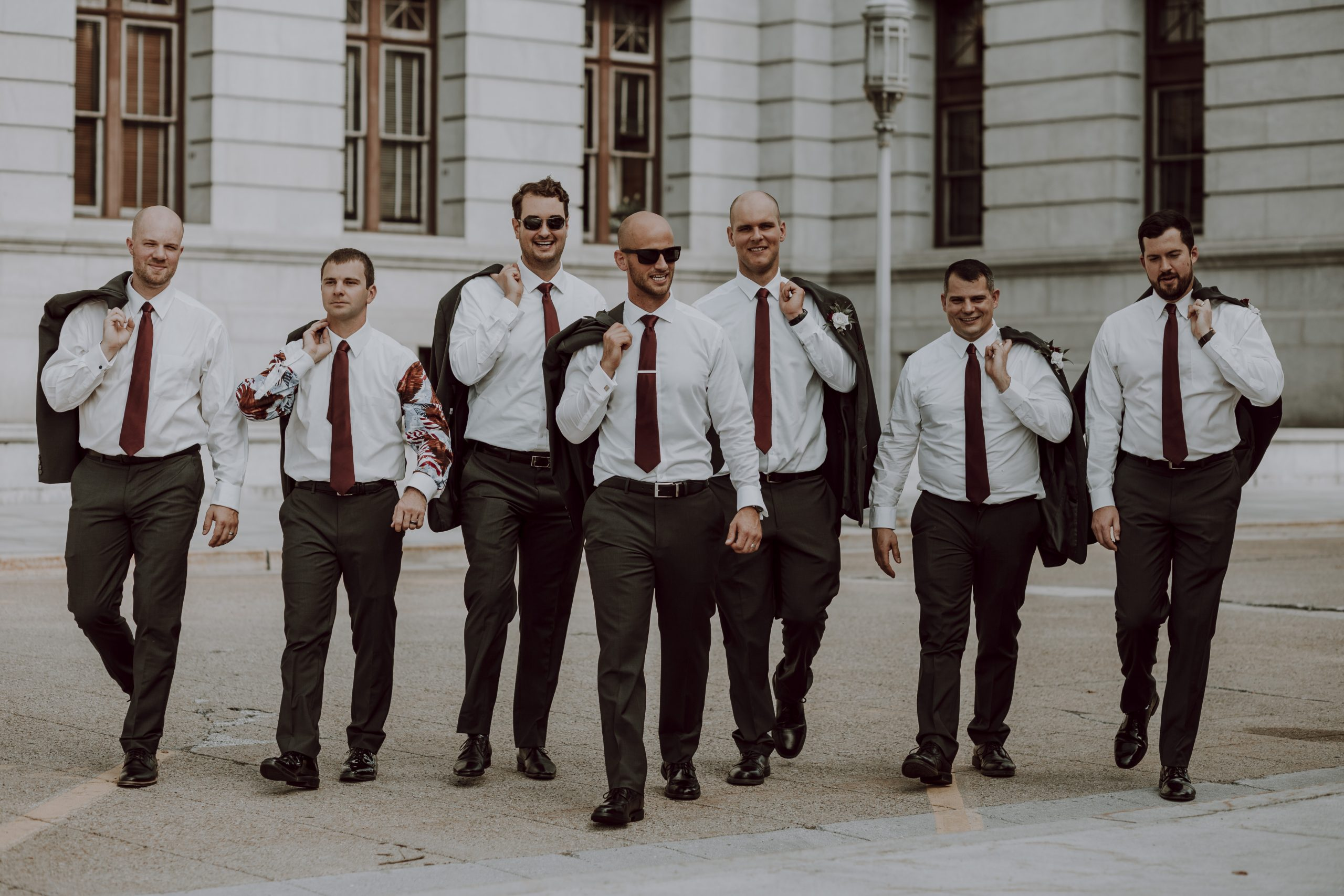 Here come the groomsmen. Captured by Lovefusion Photography at Stock's Manor in Mechanicsburg, PA. Featured on Dream Weddings.
