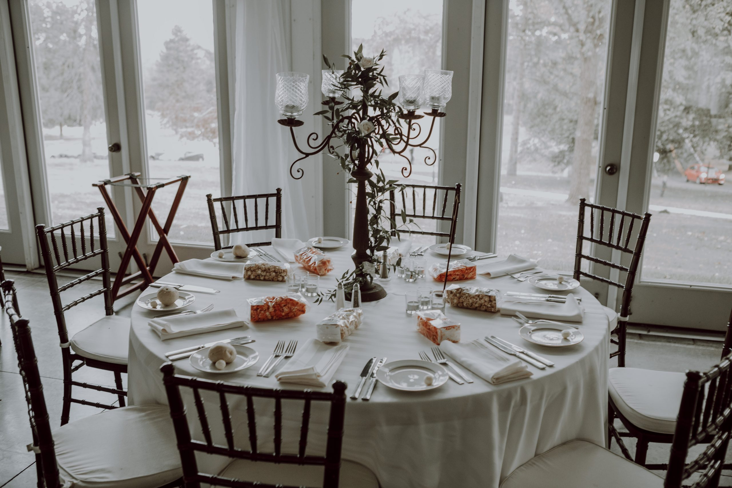 A simpe and clean tablescape offers less distractions and more conversation. Captured by Lovefusion Photography at Stock's Manor in Mechanicsburg, PA. Featured on Dream Weddings.
