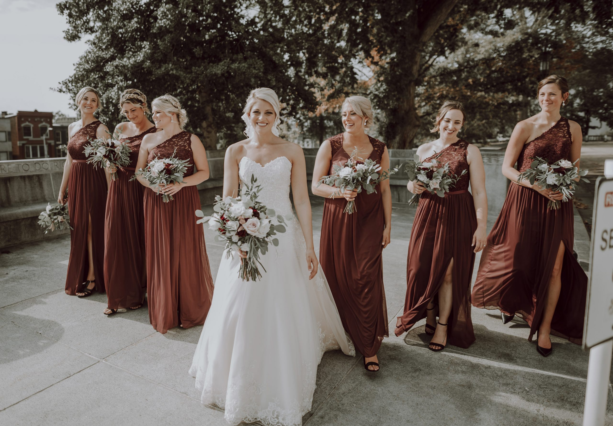 All hail the bride tribe. Captured by Lovefusion Photography at Stock's Manor in Mechanicsburg, PA. Featured on Dream Weddings.