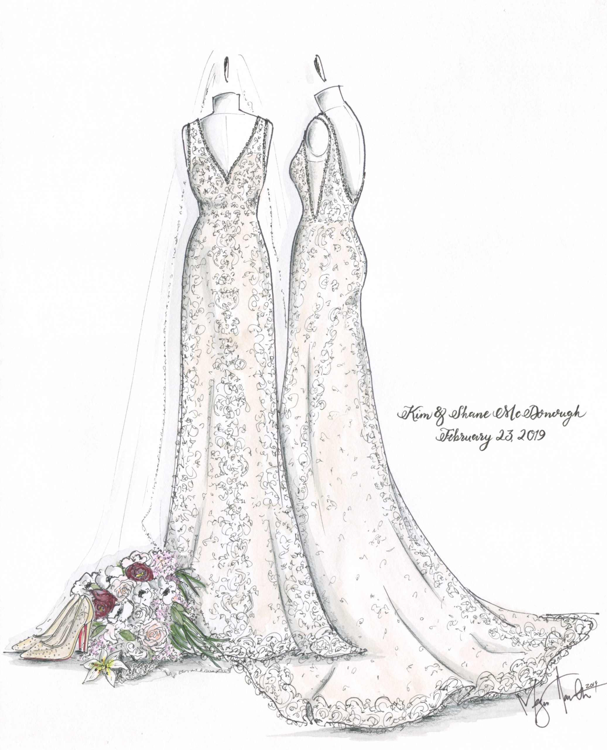 Front and side profile of a wedding dress worn by Kim McDonough on February 23, 2019. Illustrated by Megan Hamilton Weddings. Featured on Dream Weddings.
