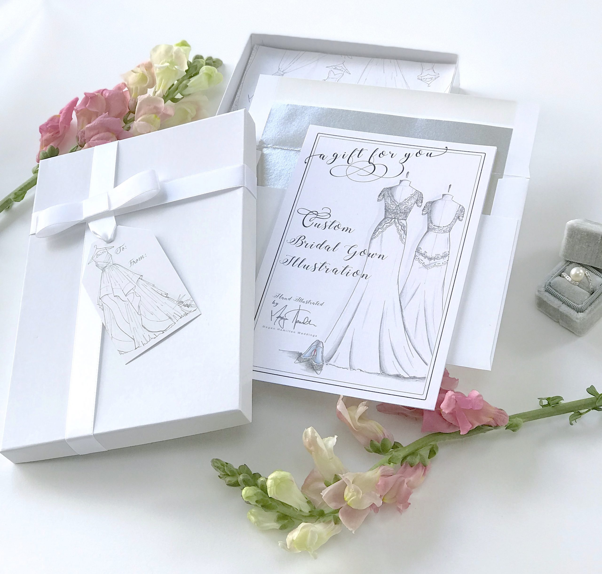 Custom bridal gown illustration as a wedding gift. Drawn by Megan Hamilton Weddings. Featured on Dream Weddings.