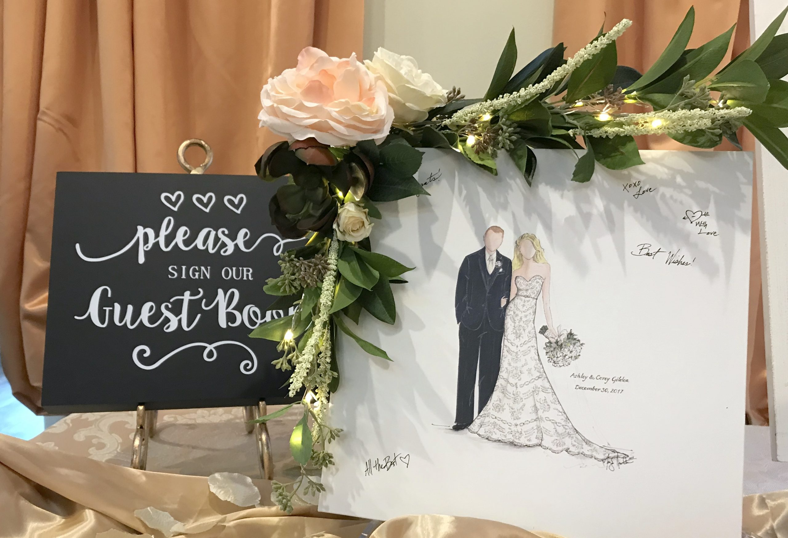 A signing board and signage to wedding guests as they enter the recption hall. Illustrated by Megan Hamilton Weddings. Featured on Dream Weddings.