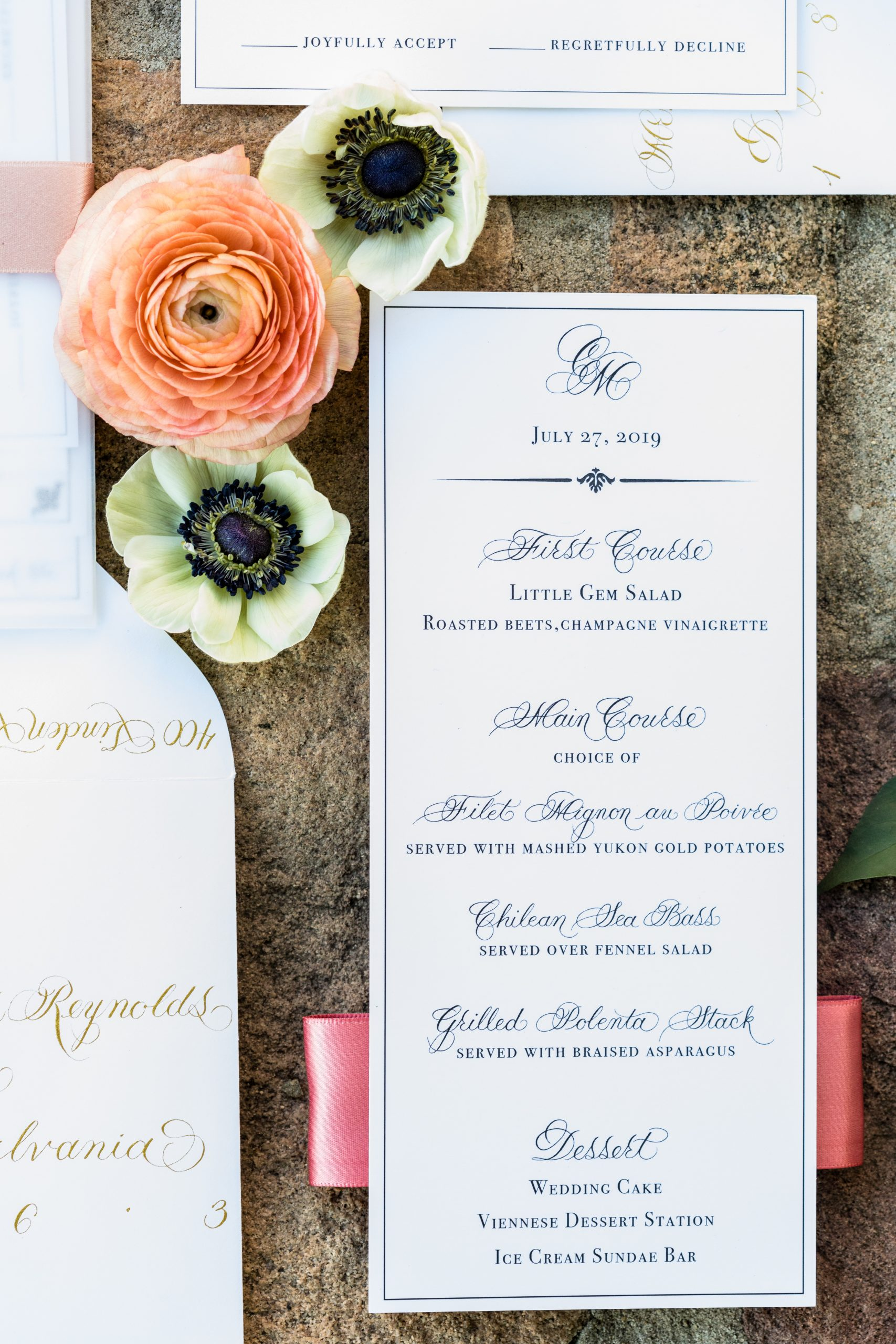 A choice of dinner signage at the Michener Museum styled urban contemporary shoot for Ashley Gerrity Photography this past Summer. Featured on Dream Weddings.