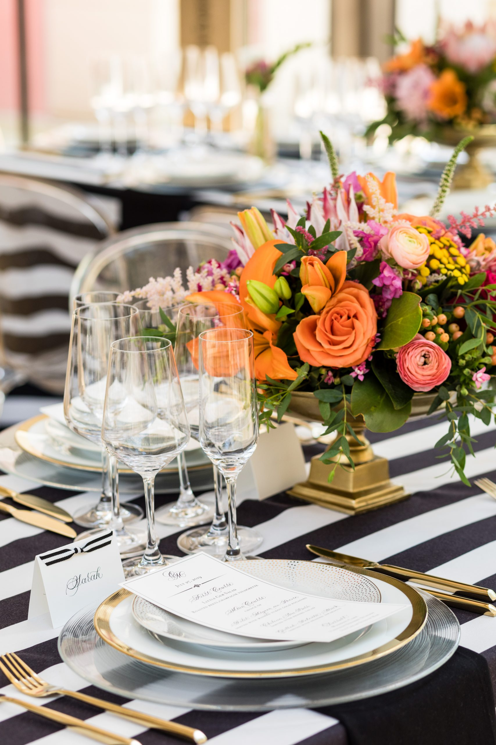 Black and white stripes embellished with luxurious gold at the Michener Museum styled urban contemporary shoot for Ashley Gerrity Photography this past Summer. Featured on Dream Weddings.