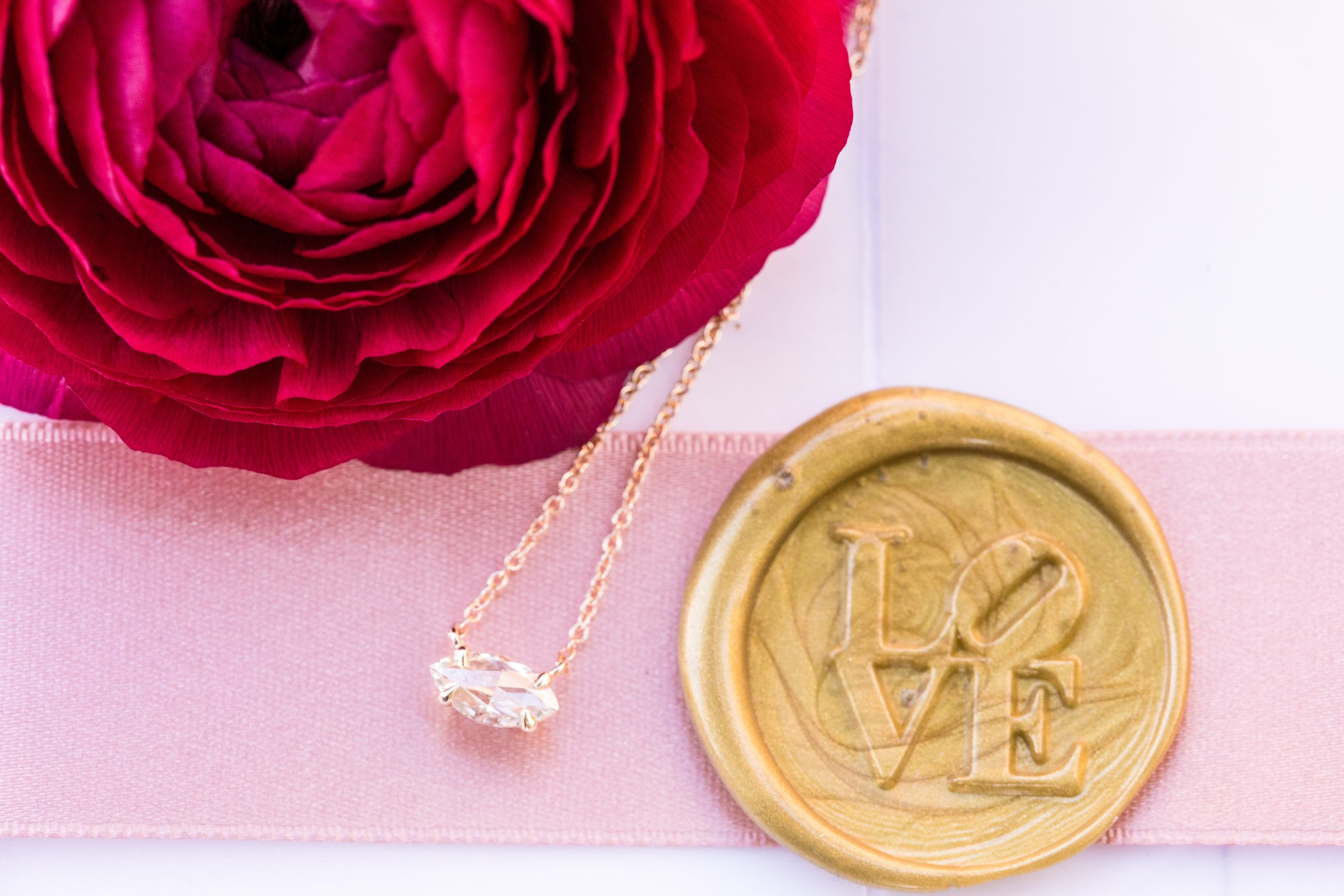 A gorgeous gold necklace to offset the LOVE seal on invitations at the Michener Museum styled urban contemporary shoot for Ashley Gerrity Photography this past Summer. Featured on Dream Weddings.