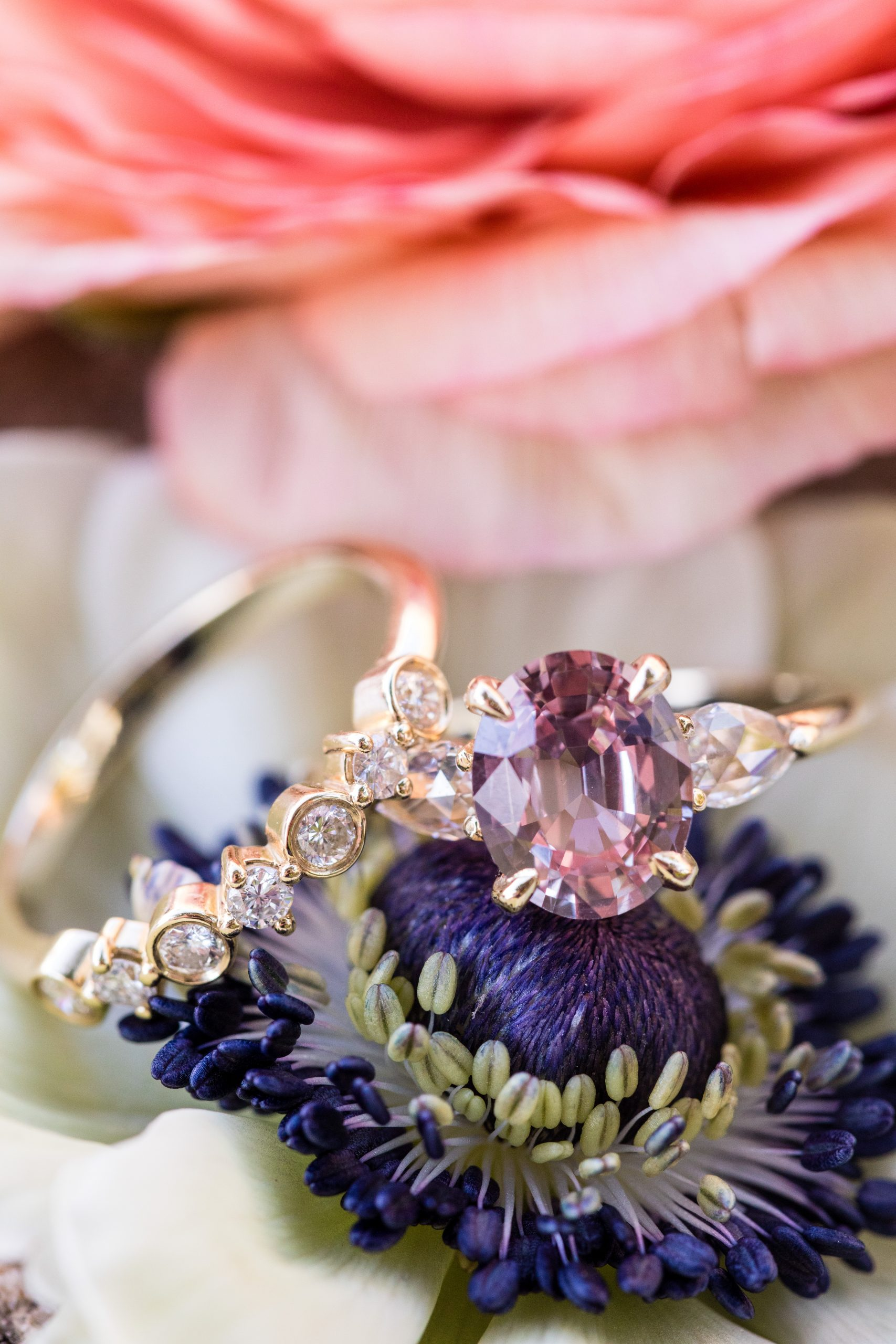 Detailed shot of the extraordinary wedding band and engagement ring laying on a flower at the Michener Museum styled urban contemporary shoot for Ashley Gerrity Photography this past Summer. Featured on Dream Weddings.