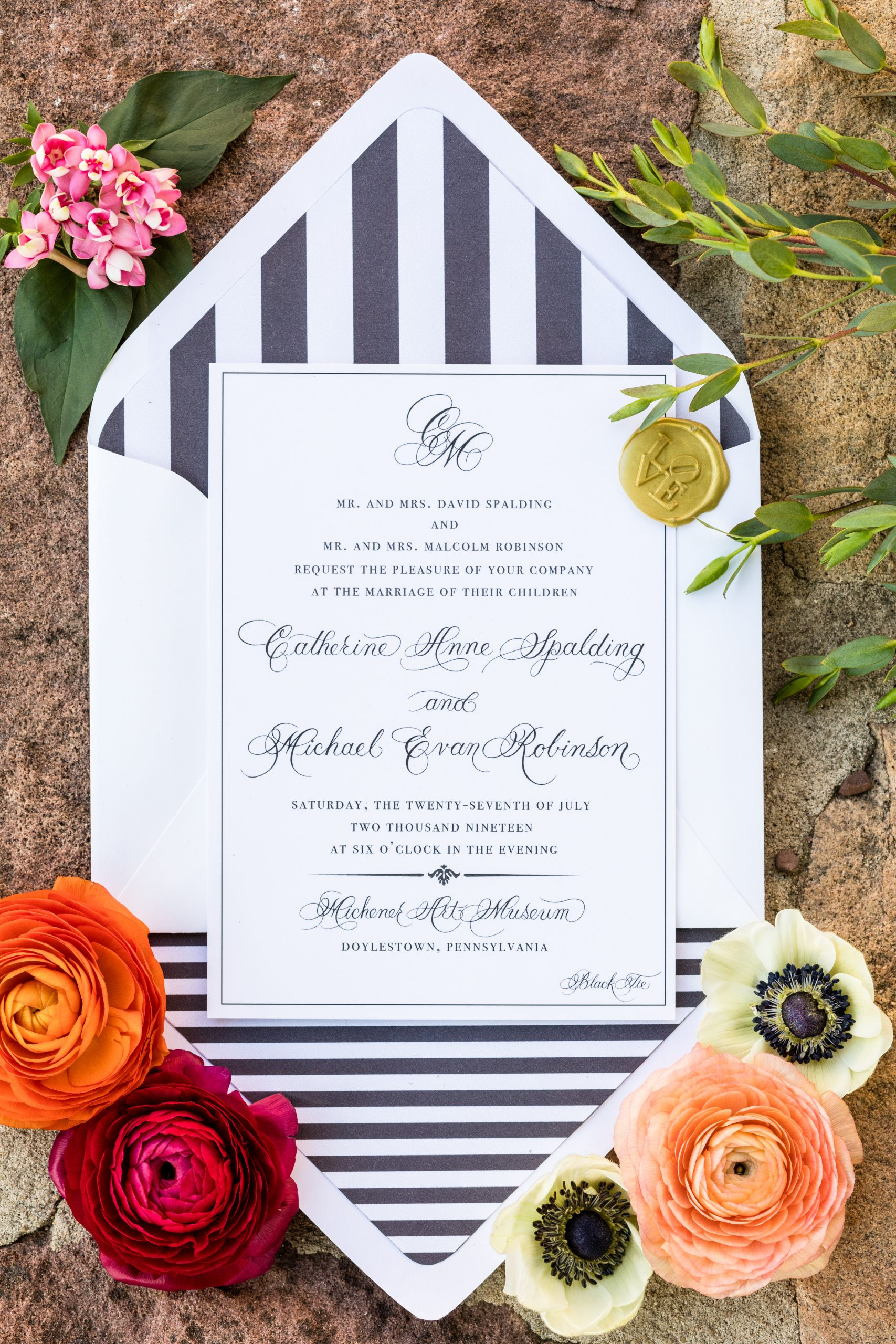 Marking the invitations with a gold seal makes it all official at the Michener Museum styled urban contemporary shoot for Ashley Gerrity Photography this past Summer. Featured on Dream Weddings.