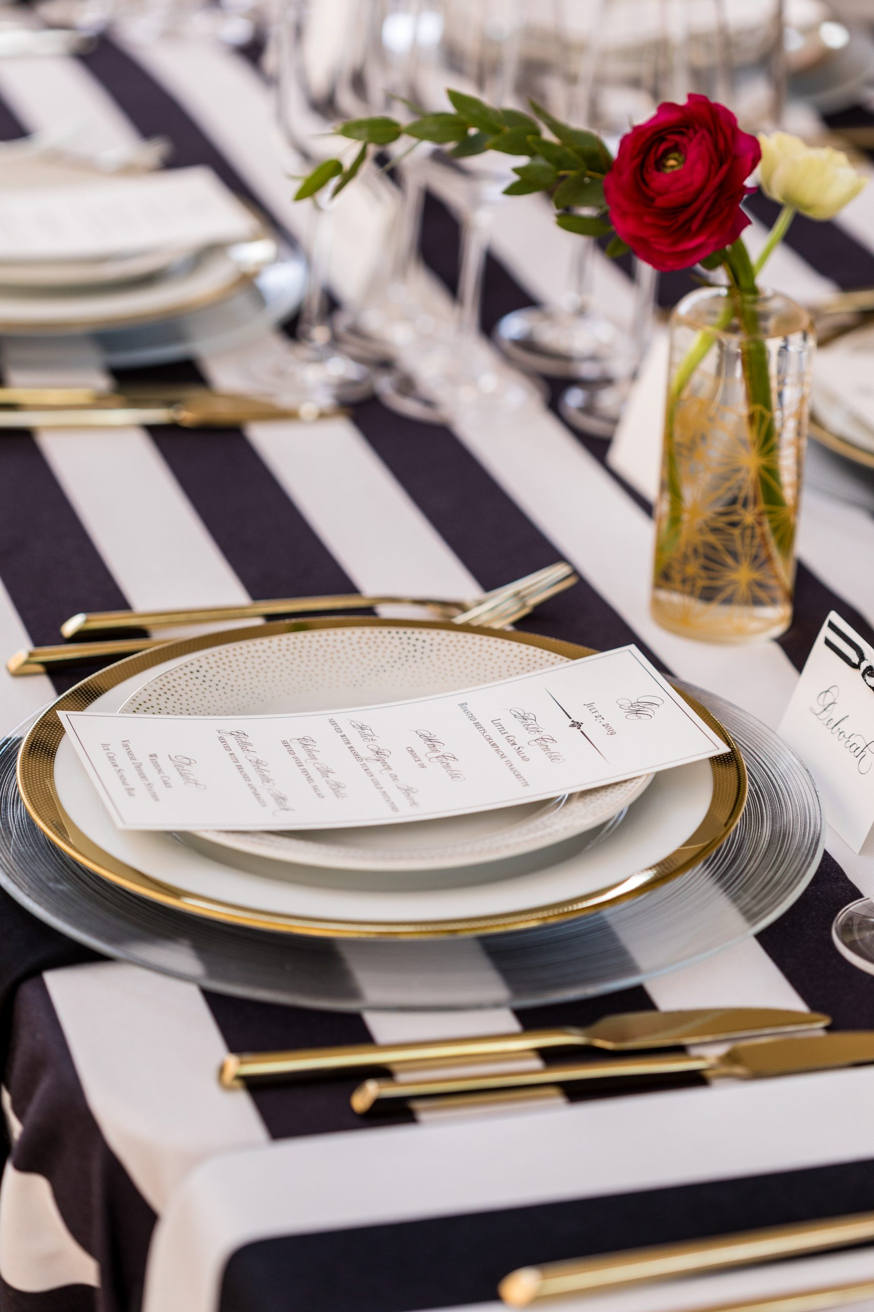 Charger plates, dinner and salad plates stacked with style at the Michener Museum styled urban contemporary shoot for Ashley Gerrity Photography this past Summer. Featured on Dream Weddings.