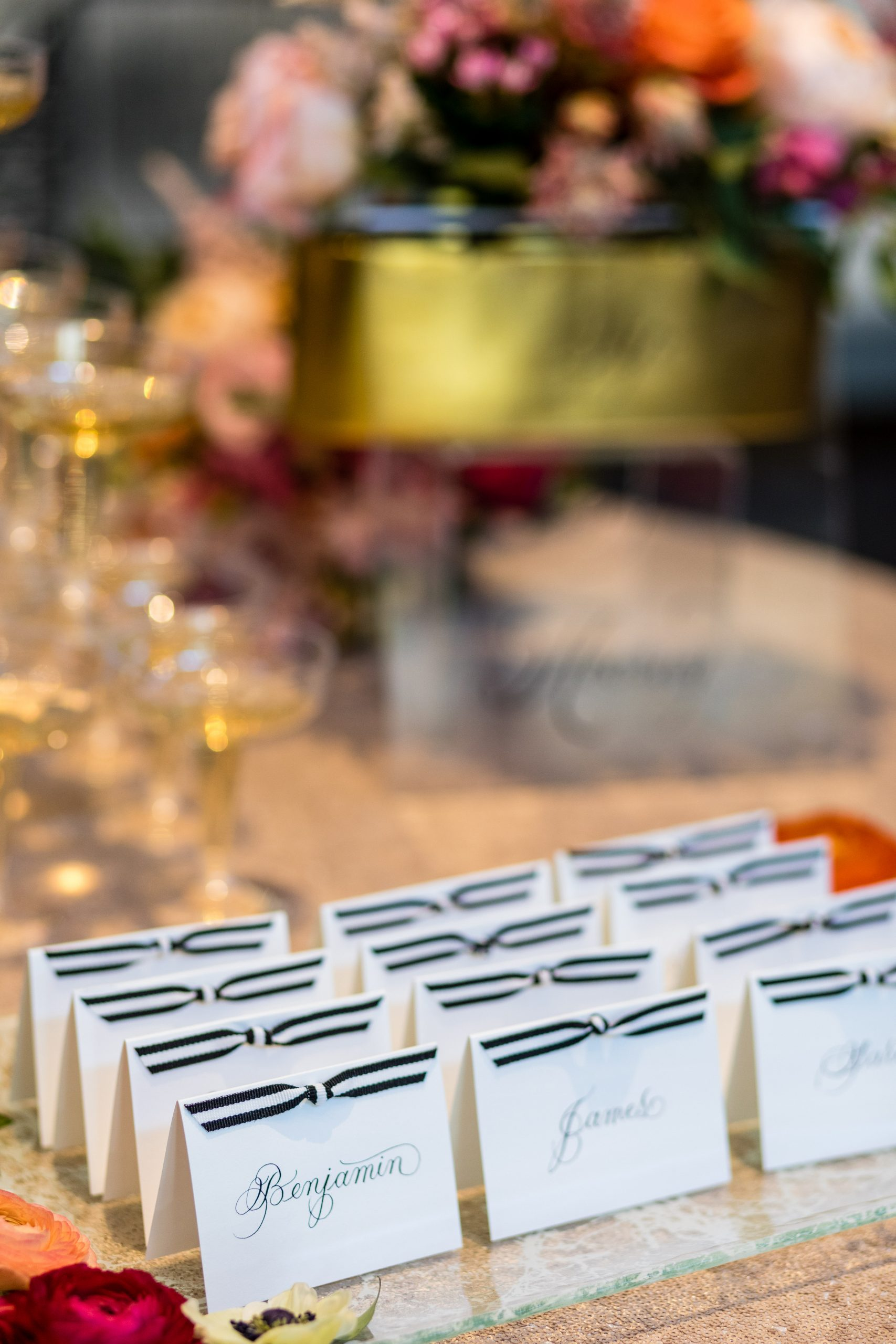 Place cards with bows at the Michener Museum styled urban contemporary shoot for Ashley Gerrity Photography this past Summer. Featured on Dream Weddings.