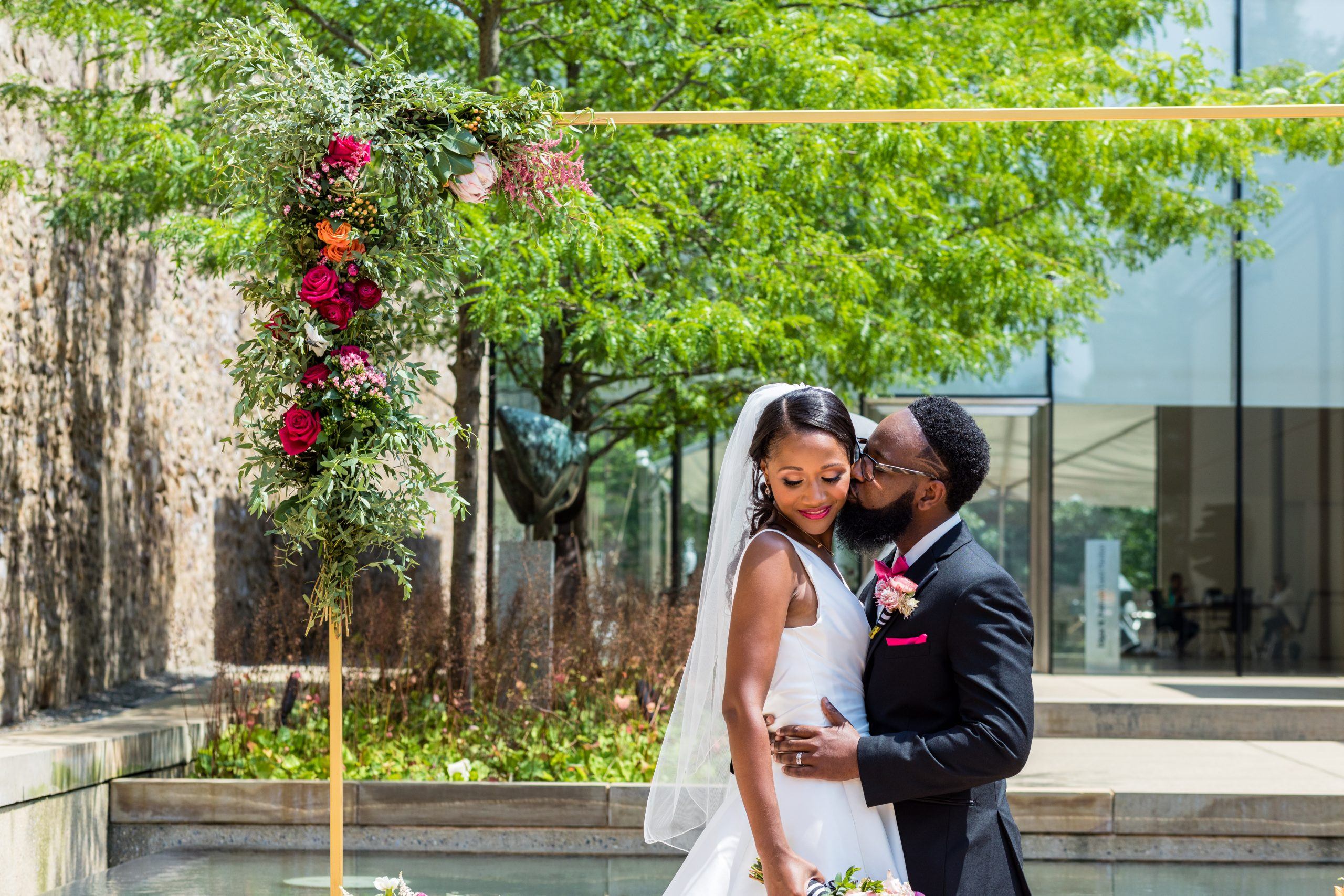 A loving kiss and embrace by the couple at the Michener Museum styled urban contemporary shoot for Ashley Gerrity Photography this past Summer. Featured on Dream Weddings.
