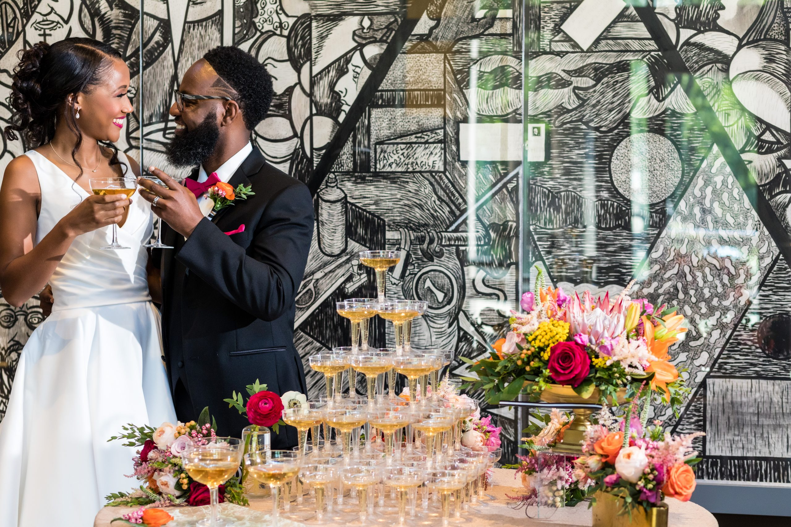Toasting to a lifelong marriage at the Michener Museum styled urban contemporary shoot for Ashley Gerrity Photography this past Summer. Featured on Dream Weddings.