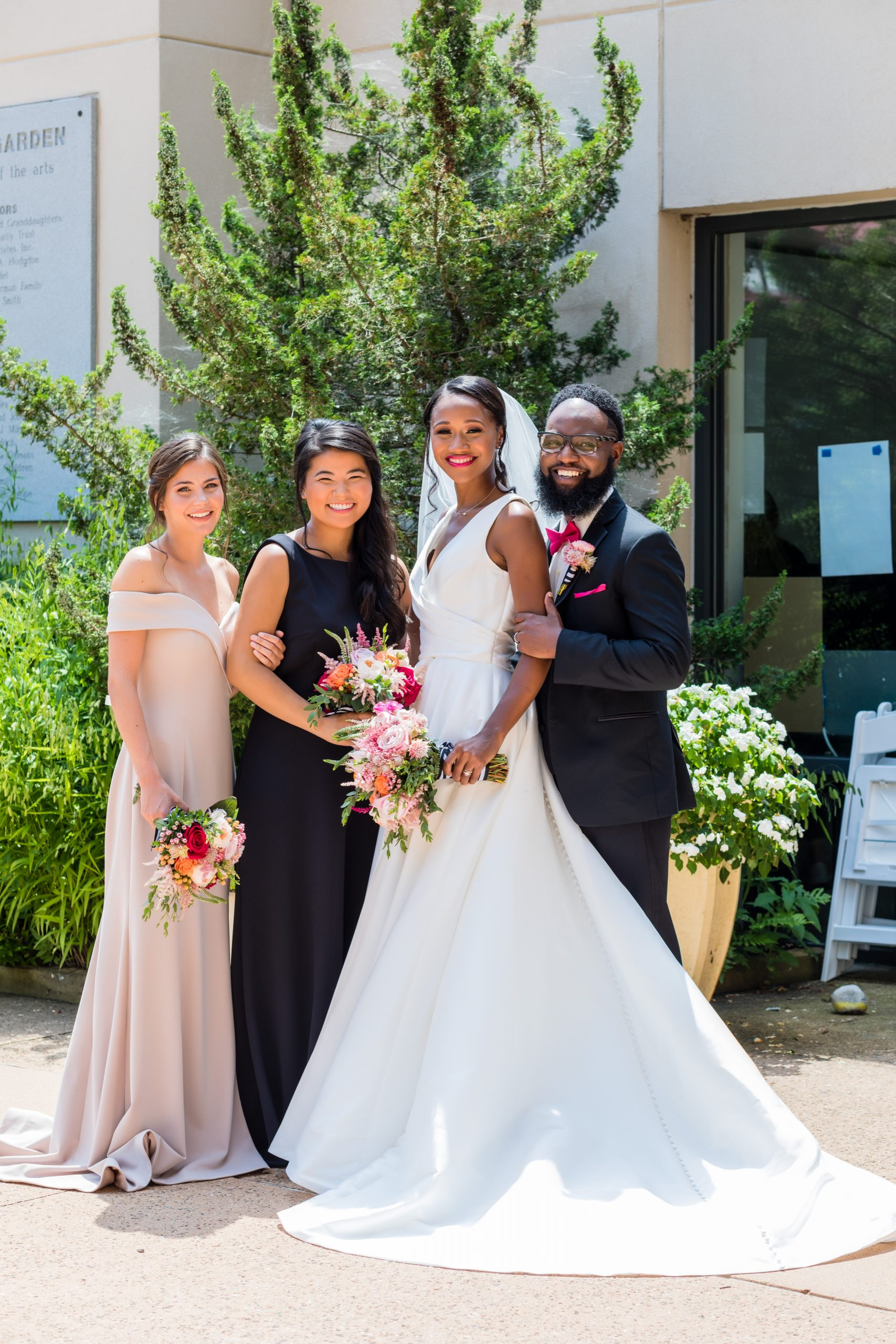 the versatile bridesmaids dresses, natural light, garden and smiles are all they need at the Michener Museum styled urban contemporary shoot for Ashley Gerrity Photography this past Summer. Featured on Dream Weddings.