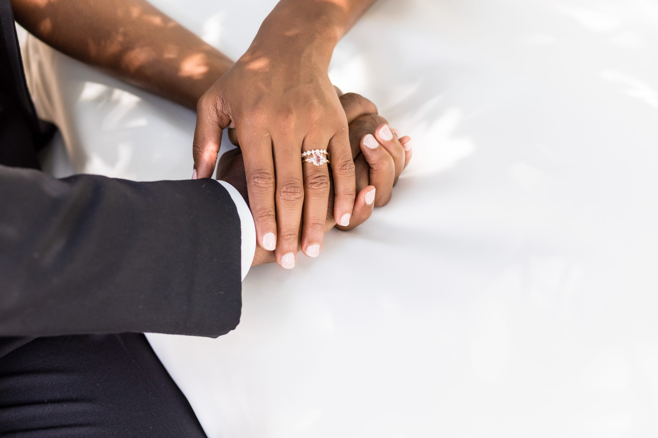 Detailed shot of the engagement and wedding rings at the Michener Museum styled urban contemporary shoot for Ashley Gerrity Photography this past Summer. Featured on Dream Weddings.
