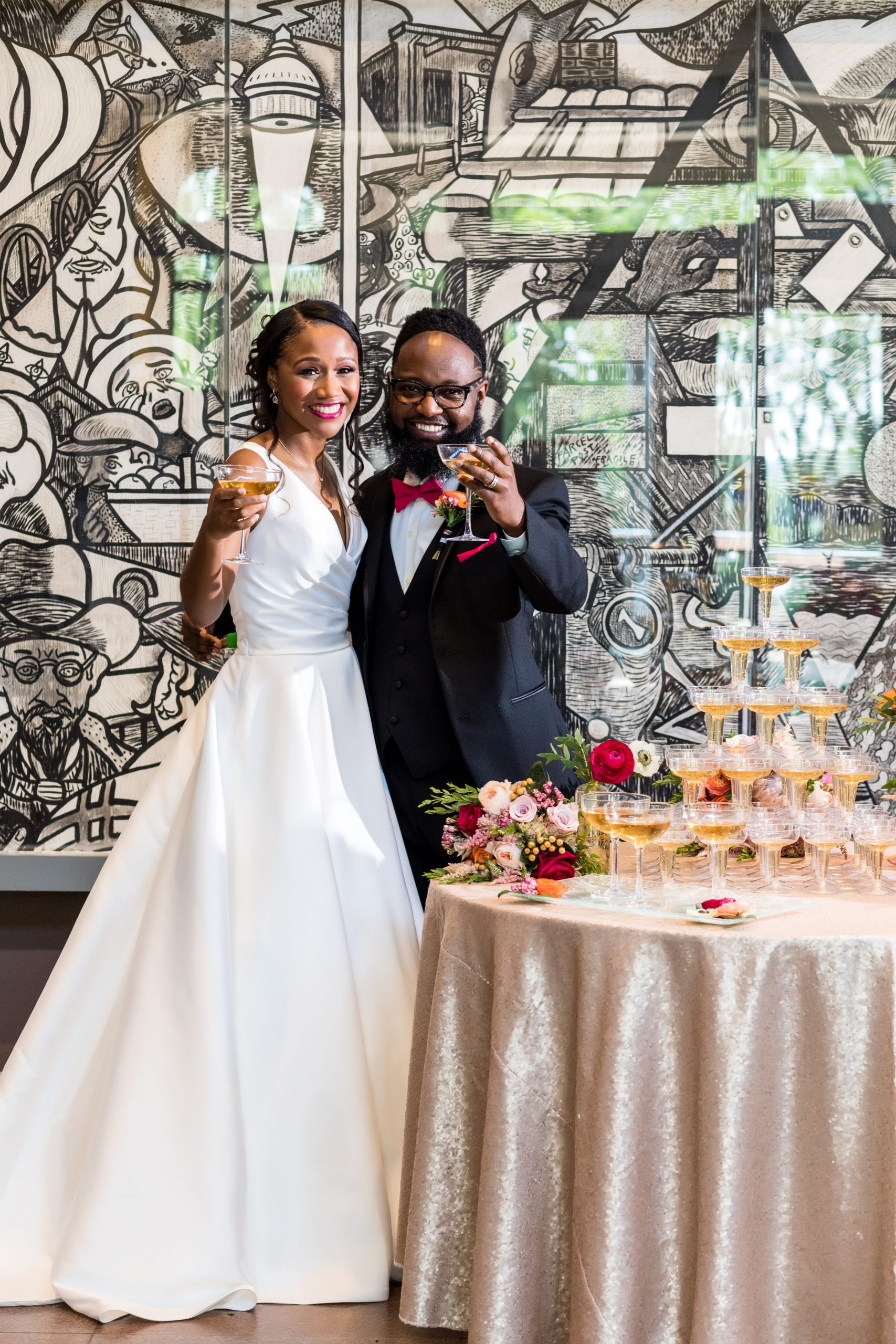 Cheers to the newly weds at the Michener Museum styled urban contemporary shoot for Ashley Gerrity Photography this past Summer. Featured on Dream Weddings.