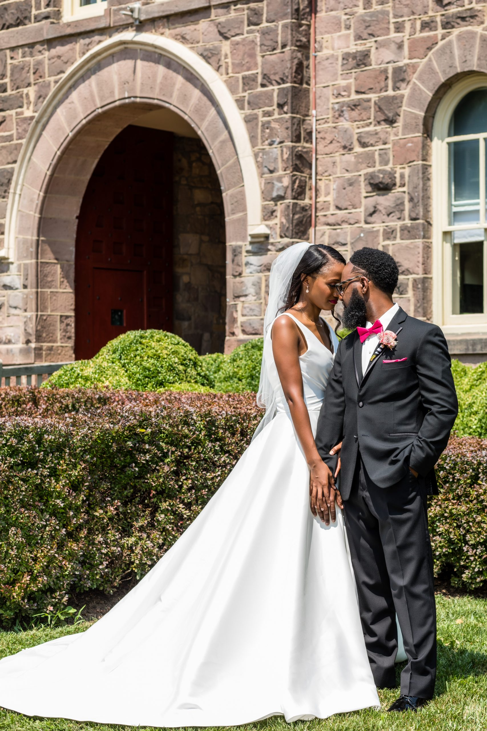 Styled couple utilizing the gardens of Michener Museum styled urban contemporary shoot for Ashley Gerrity Photography this past Summer. Featured on Dream Weddings.