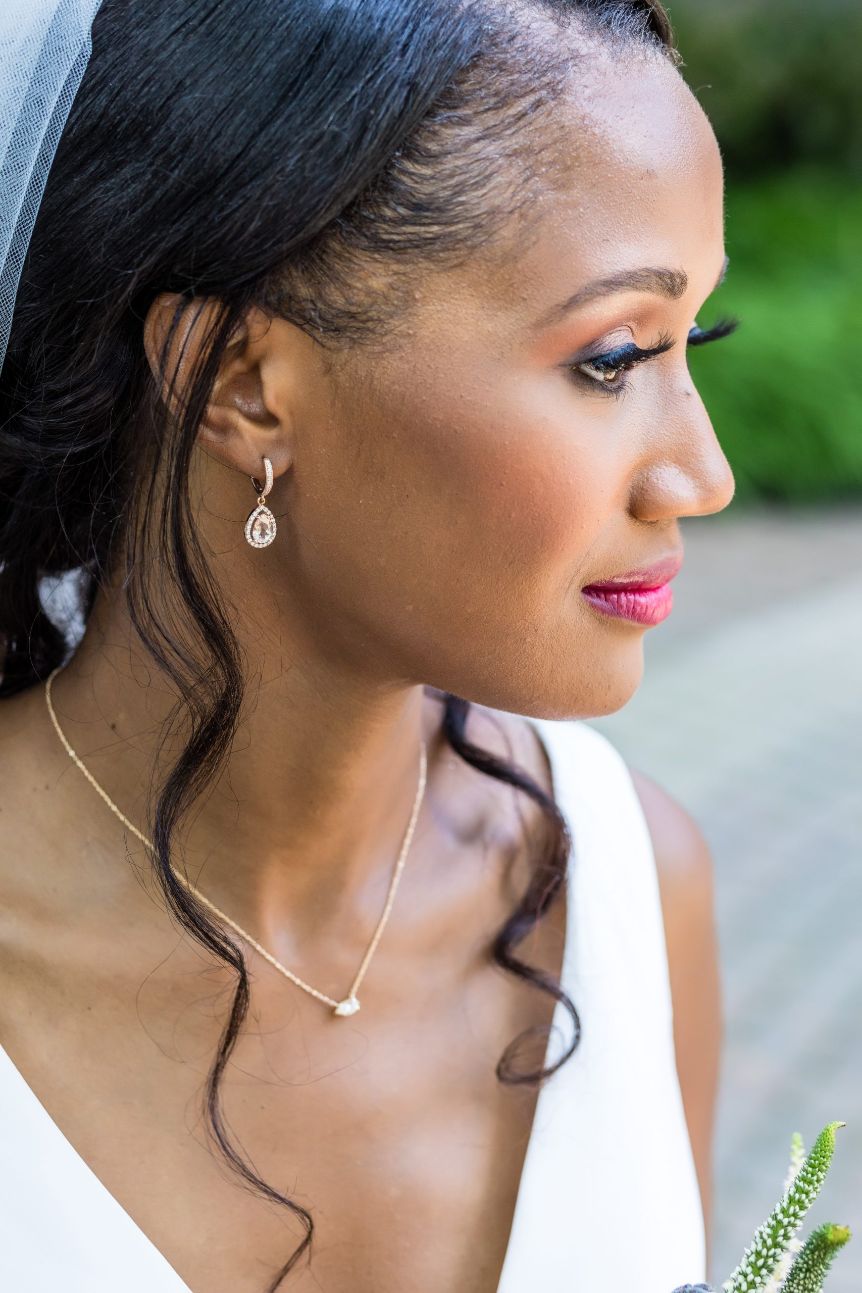 Gorgeous rose gold tear drop earrings of the bride at the the blushing bride and groom enthralled in love at the Michener Museum styled urban contemporary shoot for Ashley Gerrity Photography this past Summer. Featured on Dream Weddings.