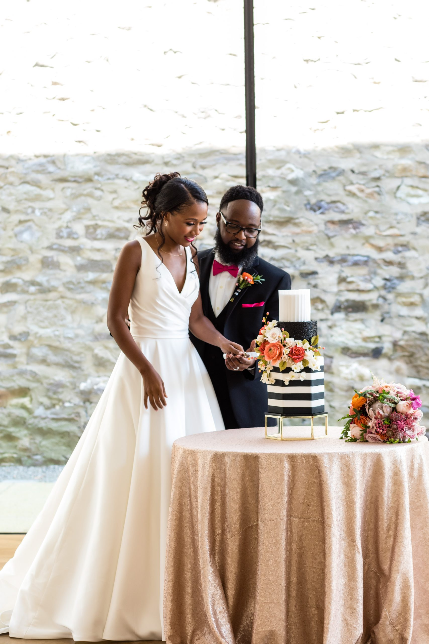 Cutting the cake at the Michener Museum styled urban contemporary shoot for Ashley Gerrity Photography this past Summer. Featured on Dream Weddings.
