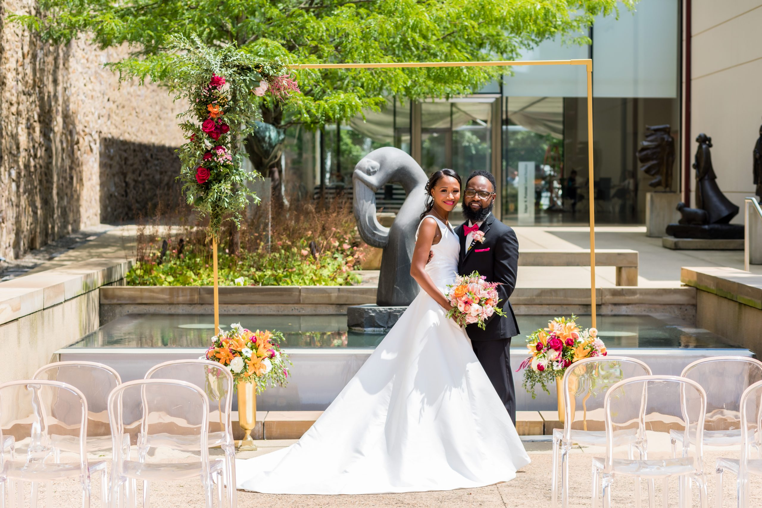 The blushing bride and groom enthralled in love at the Michener Museum styled urban contemporary shoot for Ashley Gerrity Photography this past Summer. Featured on Dream Weddings.