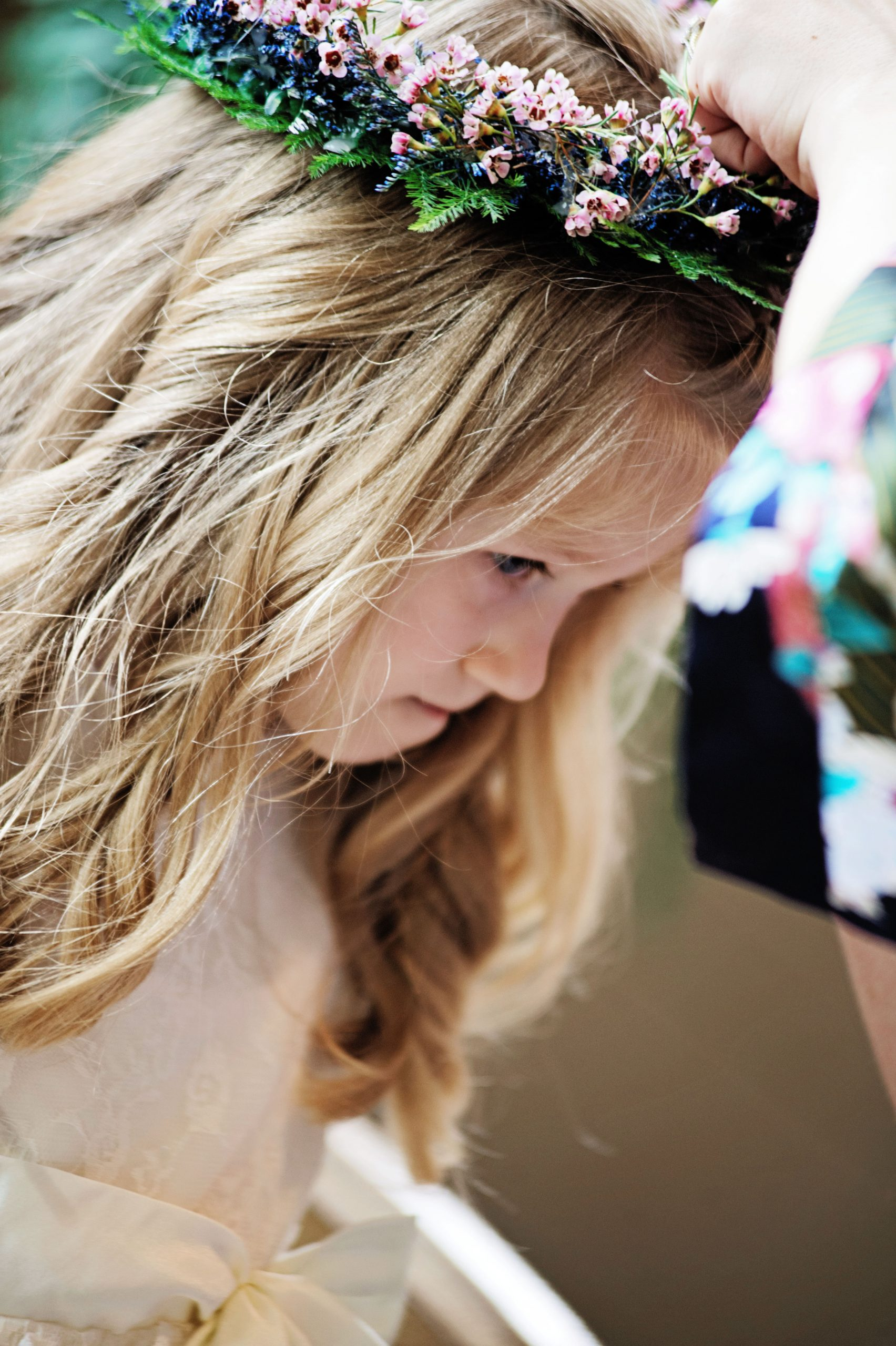All the details beautifully captured by Lovefusion Photography. A crown of flowers halos this flower girls' angelic head as she prepares to help Kady walk down the isle at Lakeview Farms in York, PA. Featured in Dream Weddings.