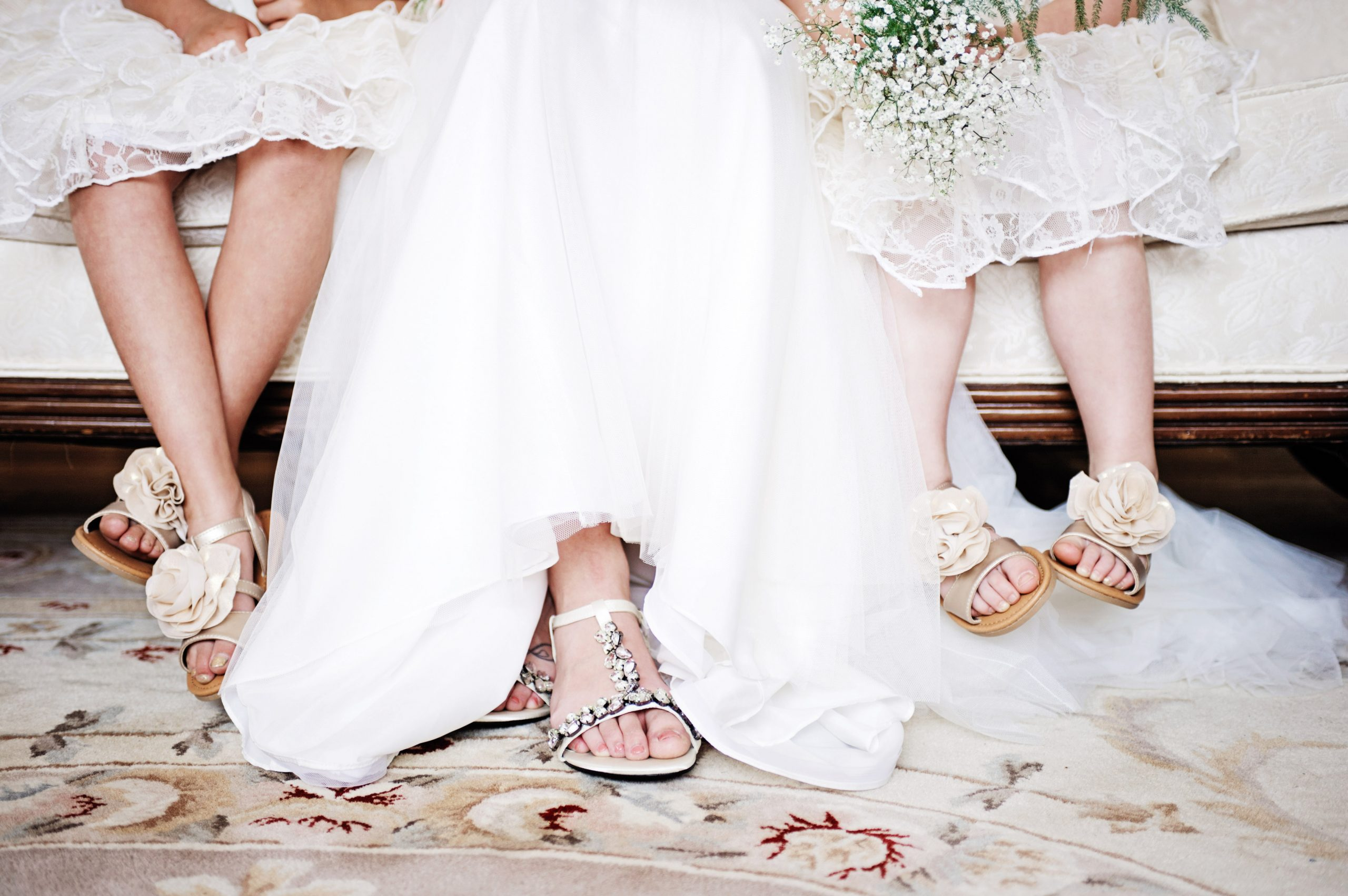 Fancy feet of the flower girls and bride to be at Lakeview Farms in York, PA, showcased by Lovefusion Photography. Featured in Dream Weddings.