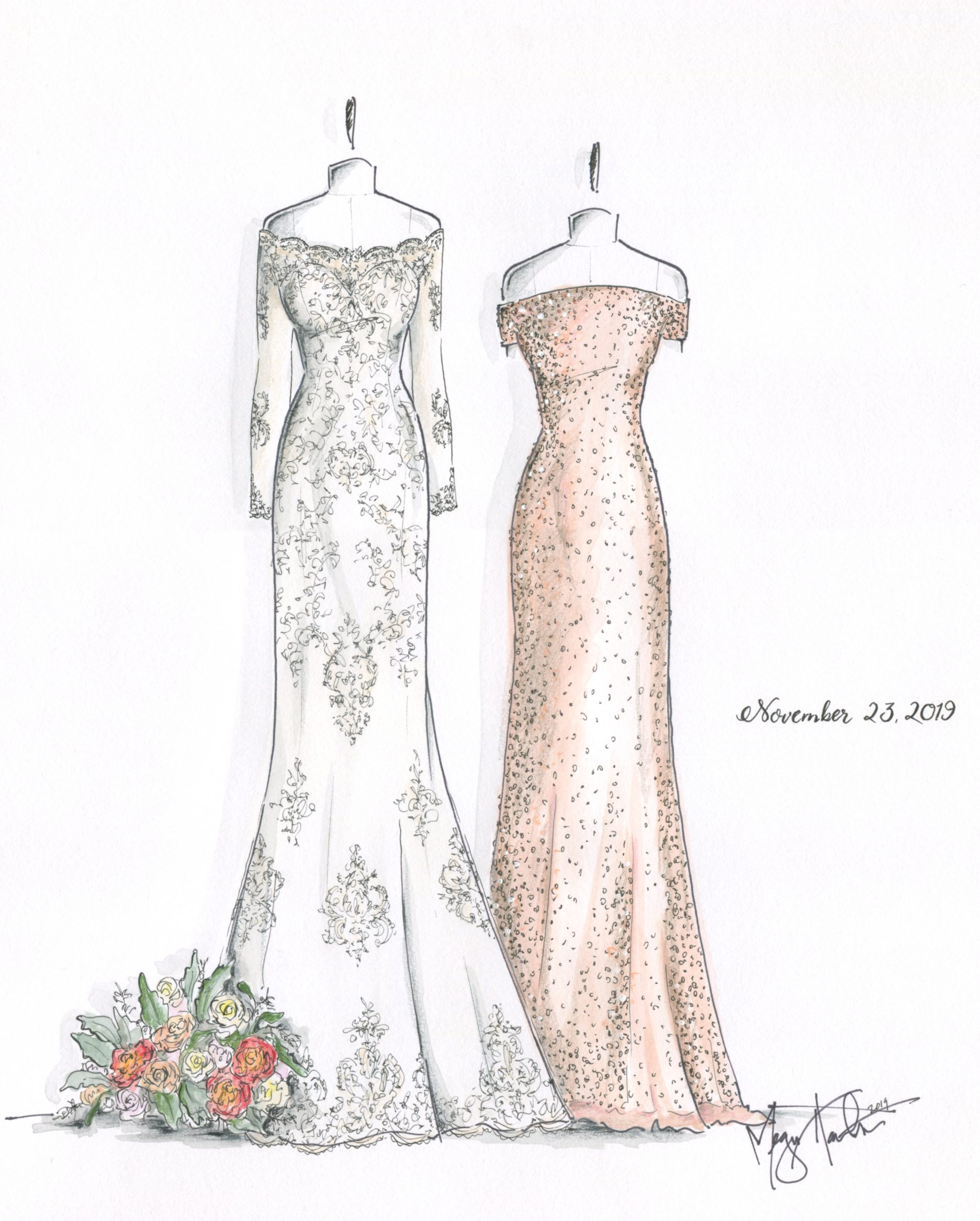 A bridesmaid and wedding dress from November 23, 2019. Illustrated by Megan Hamilton Weddings. Featured on Dream Weddings.