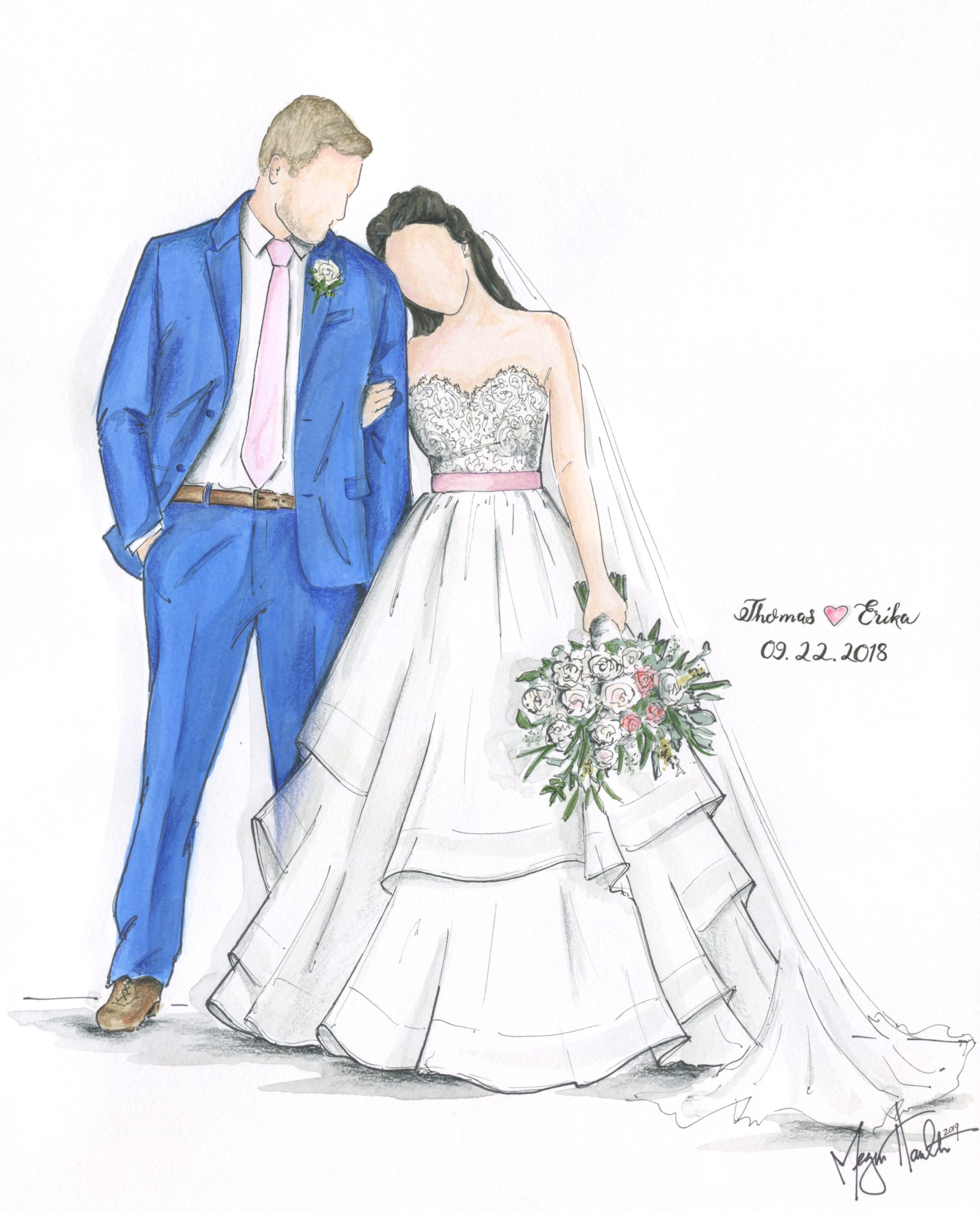 thomas and Erika married in September, 22, 2018. Illustrated by Megan Hamilton Weddings. Featured on Dream Weddings.
