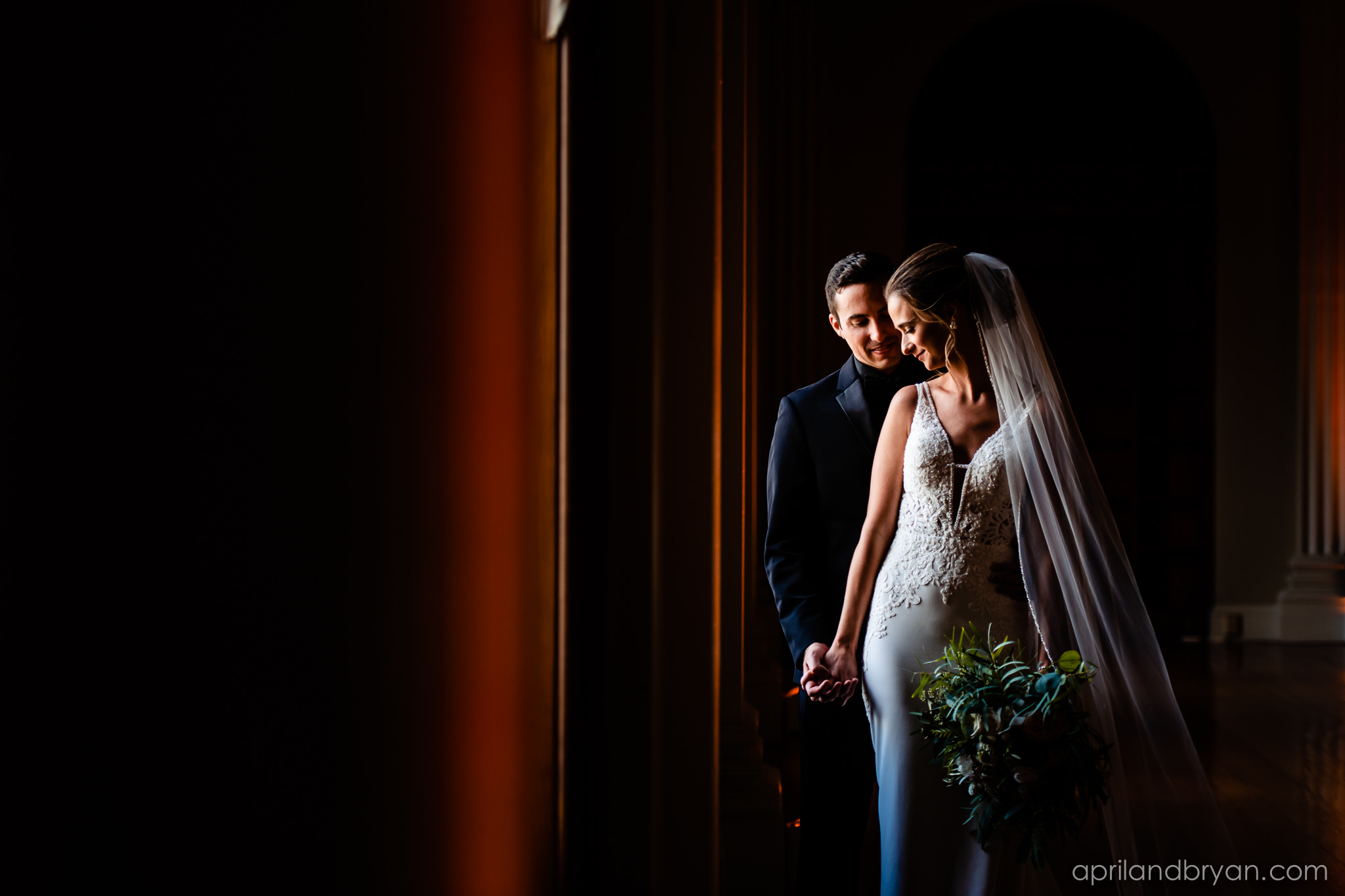Intimate, classic moment captured by April & Bryan Photography at the Franklin Institute in Philadelphia this past fall. Featured on Dream Weddings.