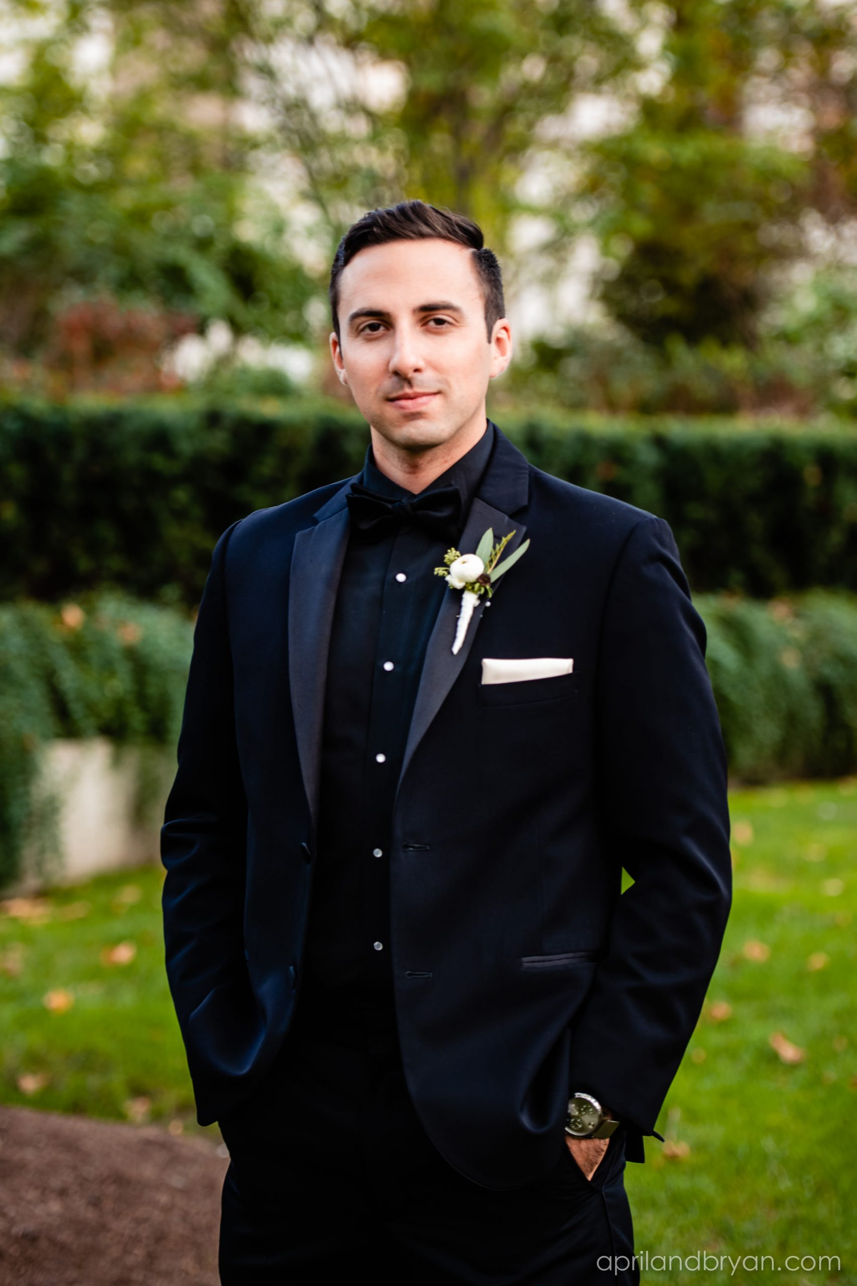 The handsome groom to be poses for April & Bryan Photography at the Franklin Institute this past Fall. Featured on Dream Weddings.