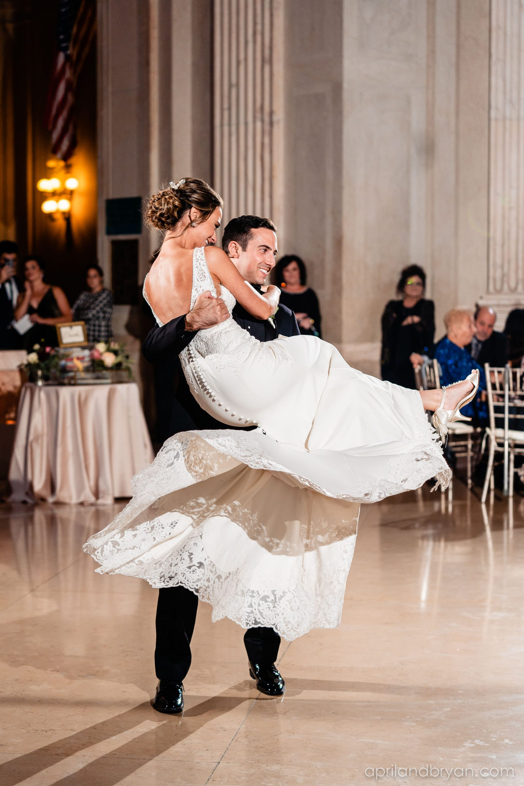 A little swing dancing to start the night off right by the bride and groom at the Franklin Institute in Philadelphia. All captured by April & Bryan Photography. Featured on Dream Weddings.