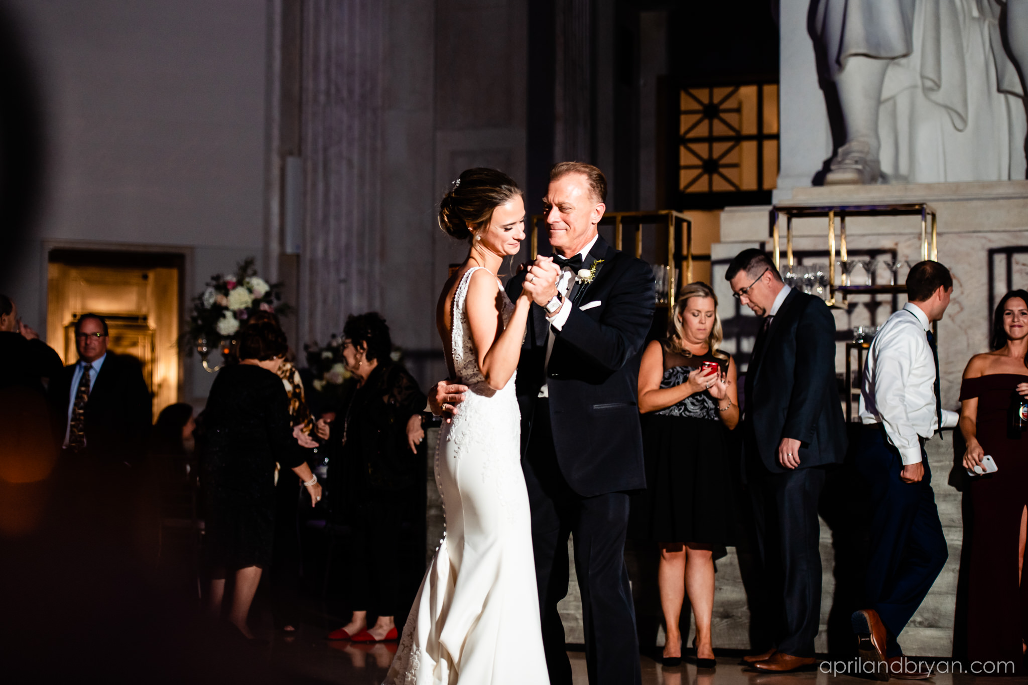 Father daughter dance at the Franklin Institute, captured by April & Bryan Photography.