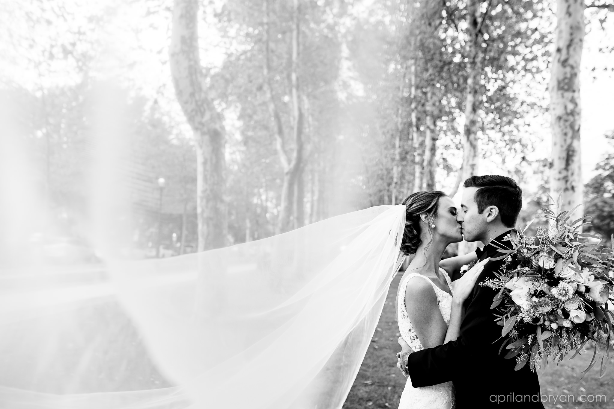 Veil in the breeze and a kiss on the lips these newlyweds celebrate their union in the courtyards of the Franklin Institute in Phialdelphia, PA. Featured on Dream Weddings.