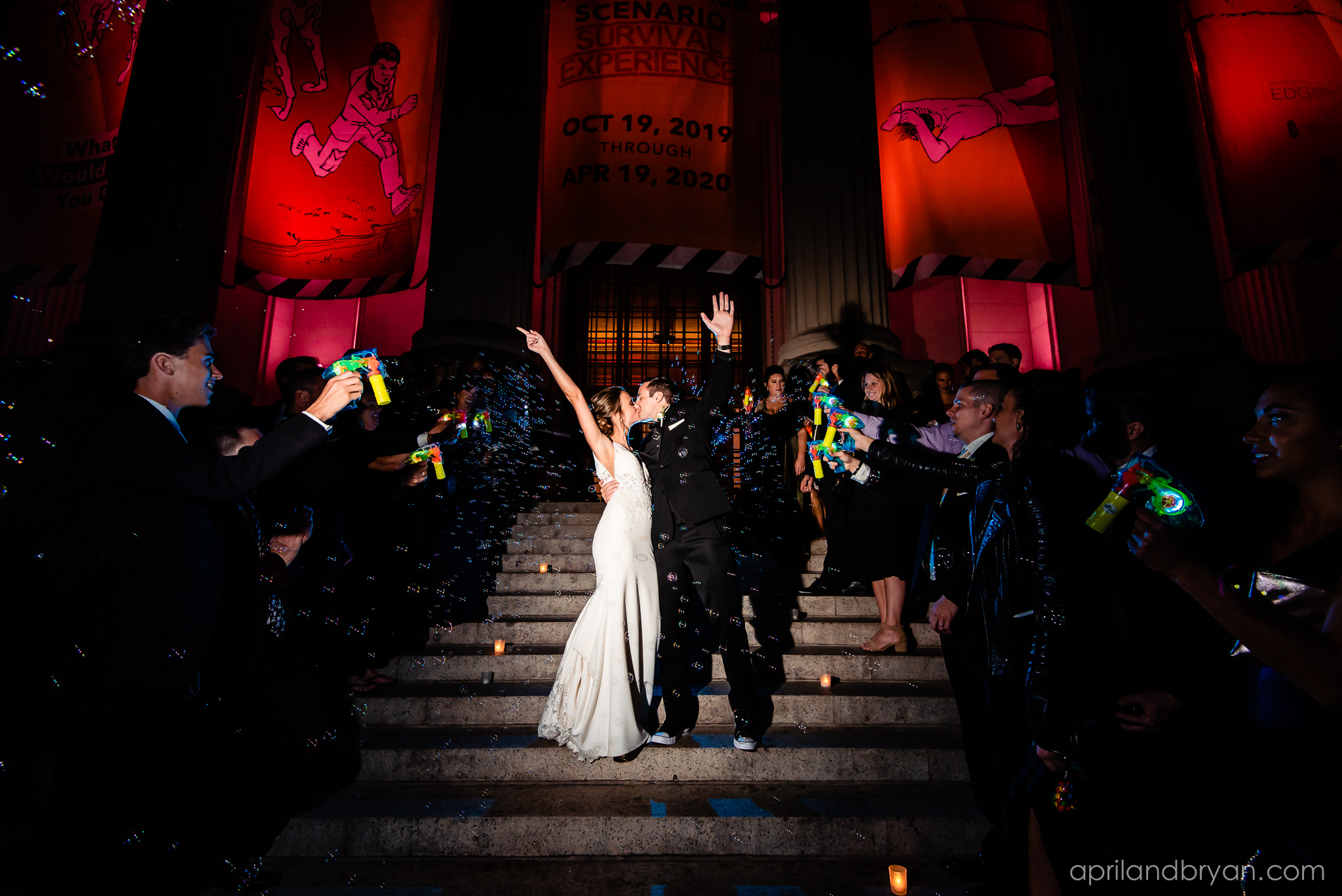 April & Bryan Photography captured this urban contemporary wedding hosted by the Franklin Institute. Featured on dream Weddings.