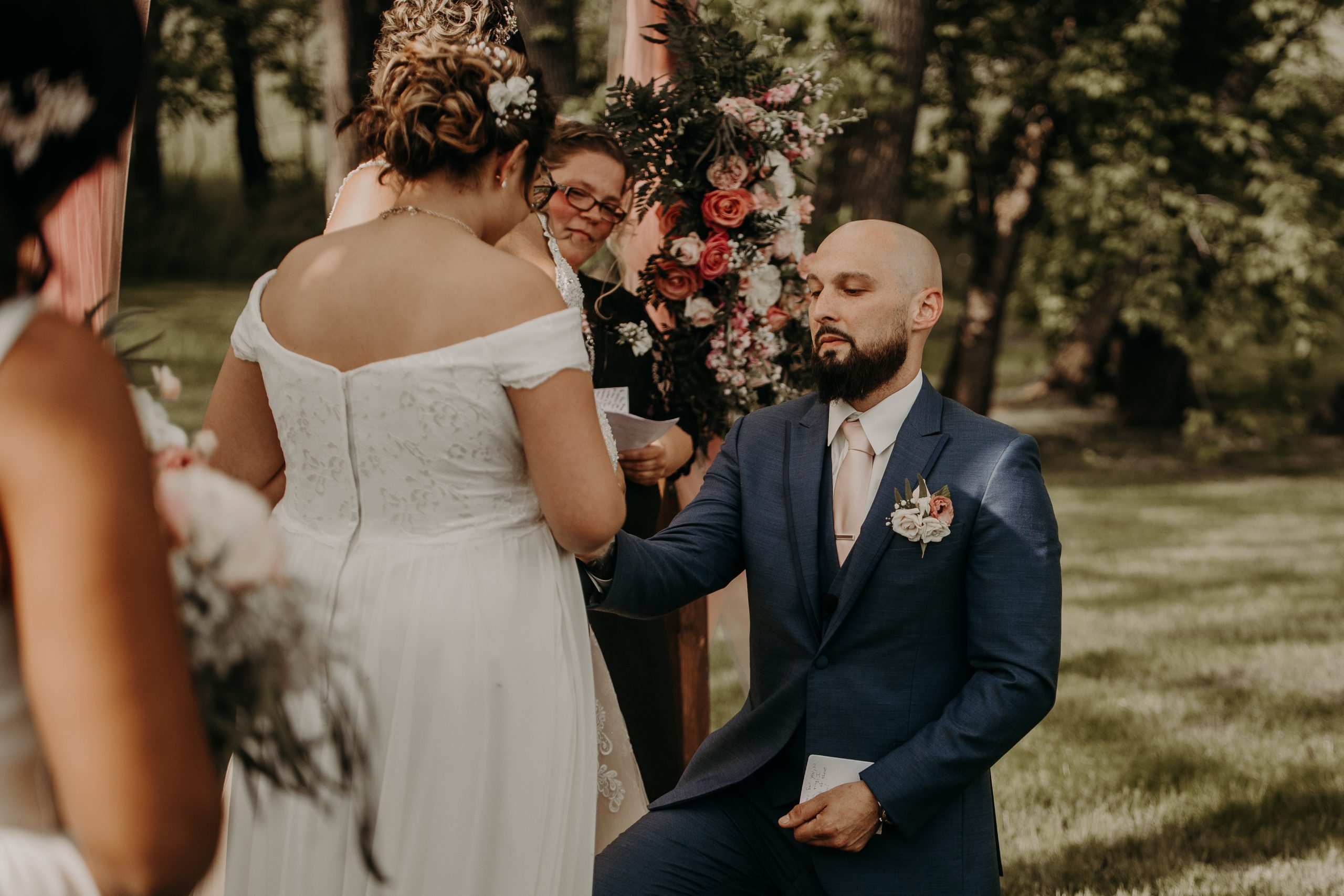 Richard makes a promise to his new stepdaughter. Christine and Richard wed on the Chestnut Hill Villa grounds on May of 2019. This organic ethereal styled wedding was captured by Garnet Dahlia Photography and featured on Dream Weddings.