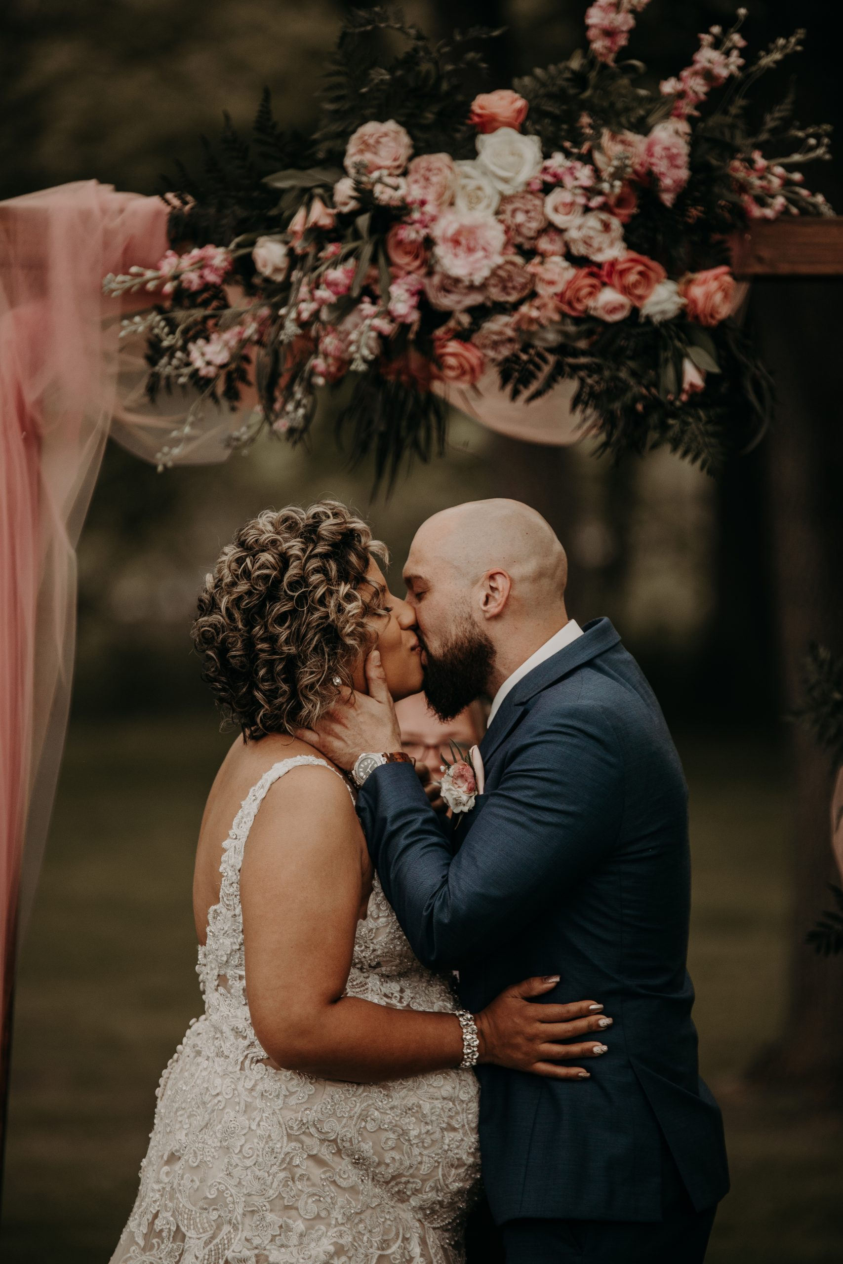 Seal it with a kiss. The two are finally married. Christine and Richard wed on the Chestnut Hill Villa grounds on May of 2019. This organic ethereal styled wedding was captured by Garnet Dahlia Photography and featured on Dream Weddings.