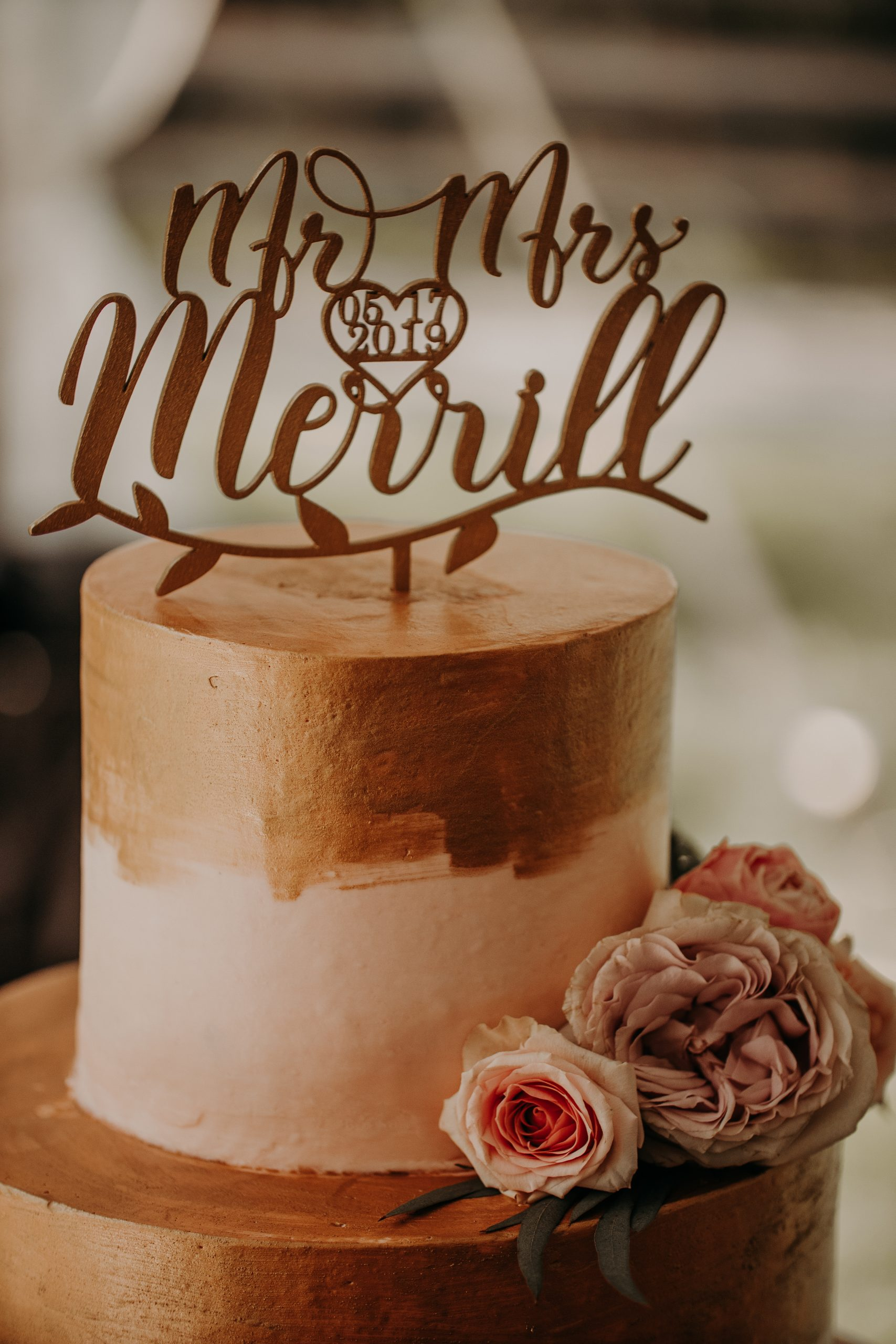 tHE CAKE TOPPER STATING THEIR WEDDING DATE AND NOW JOINED LAST NAME IS A SIMPLE, YET ELEGANT WAY TO EMBELLISH YOUR WEDDING CAKE. Christine and Richard wed on the Chestnut Hill Villa grounds on May of 2019. This organic ethereal styled wedding was captured by Garnet Dahlia Photography and featured on Dream Weddings.
