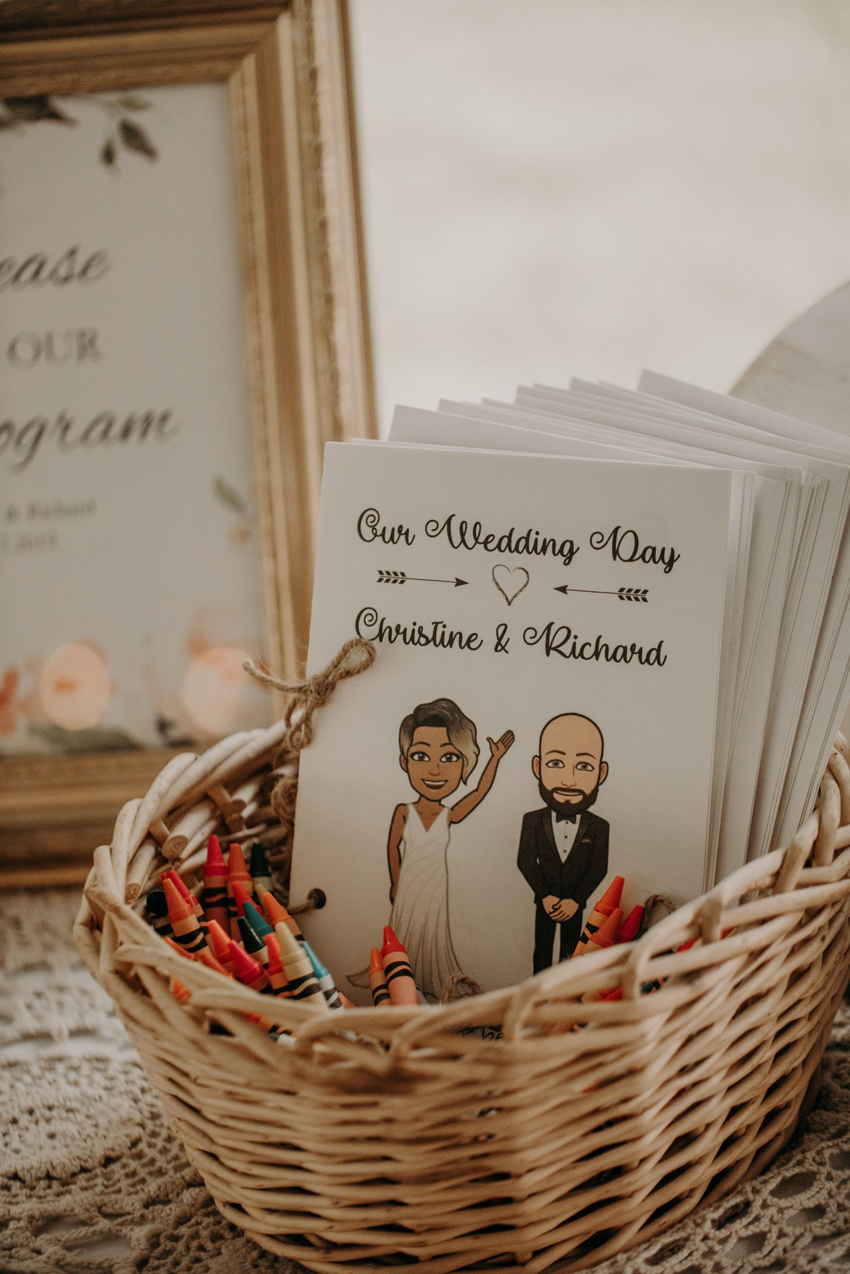 A bitmoji coloring book of the couple is a simple, yet creative way to entertain guests. Christine and Richard wed on the Chestnut Hill Villa grounds on May of 2019. This organic ethereal styled wedding was captured by Garnet Dahlia Photography and featured on Dream Weddings.