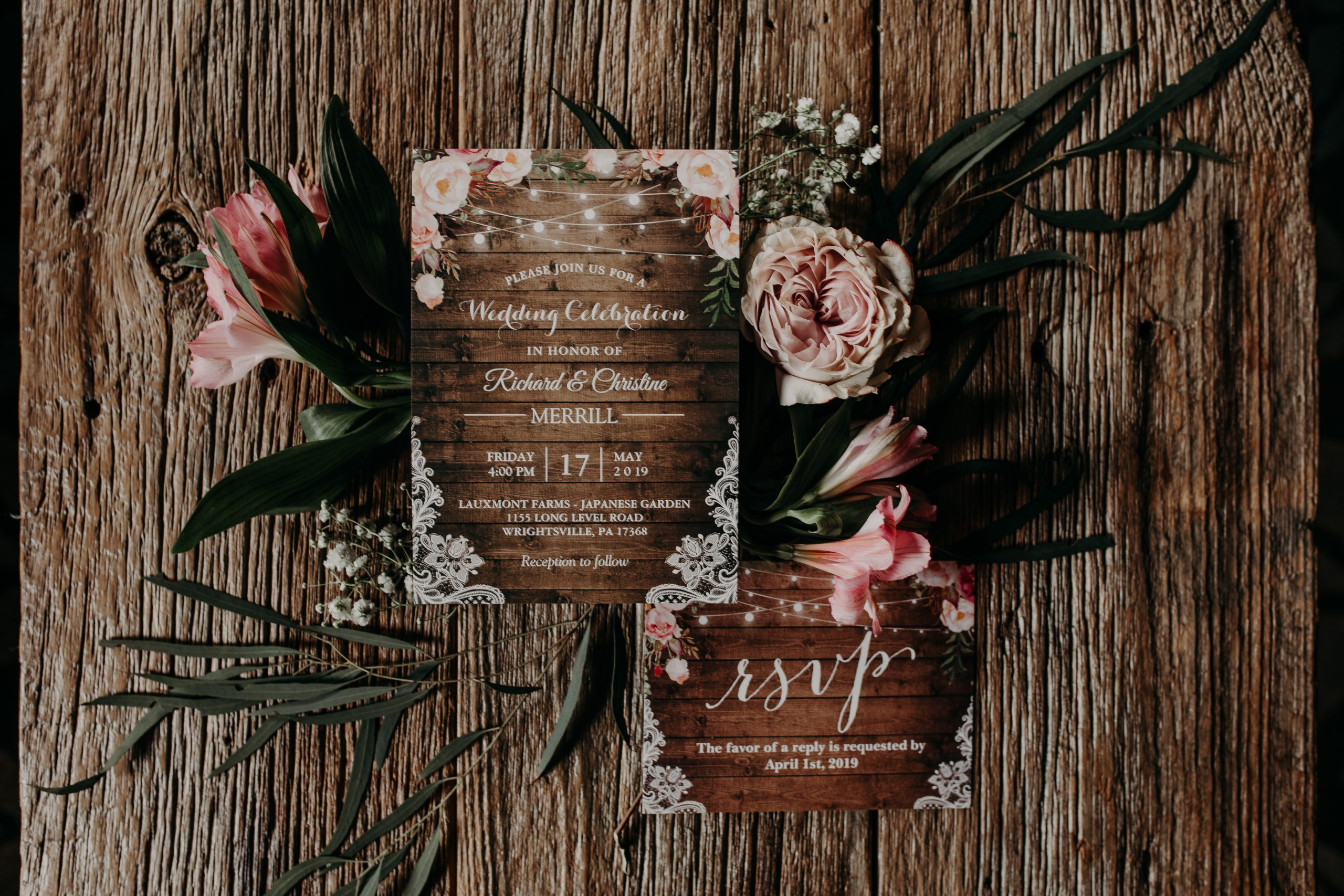 The invitations to the wedding of the year for friends and family of Richard and Christine. Blush pink and rustic wood are a reoccurring theme in the soon to be wedding ceremony. Christine and Richard wed on the Chestnut Hill Villa grounds on May of 2019. This organic ethereal styled wedding was captured by Garnet Dahlia Photography and featured on Dream Weddings.
