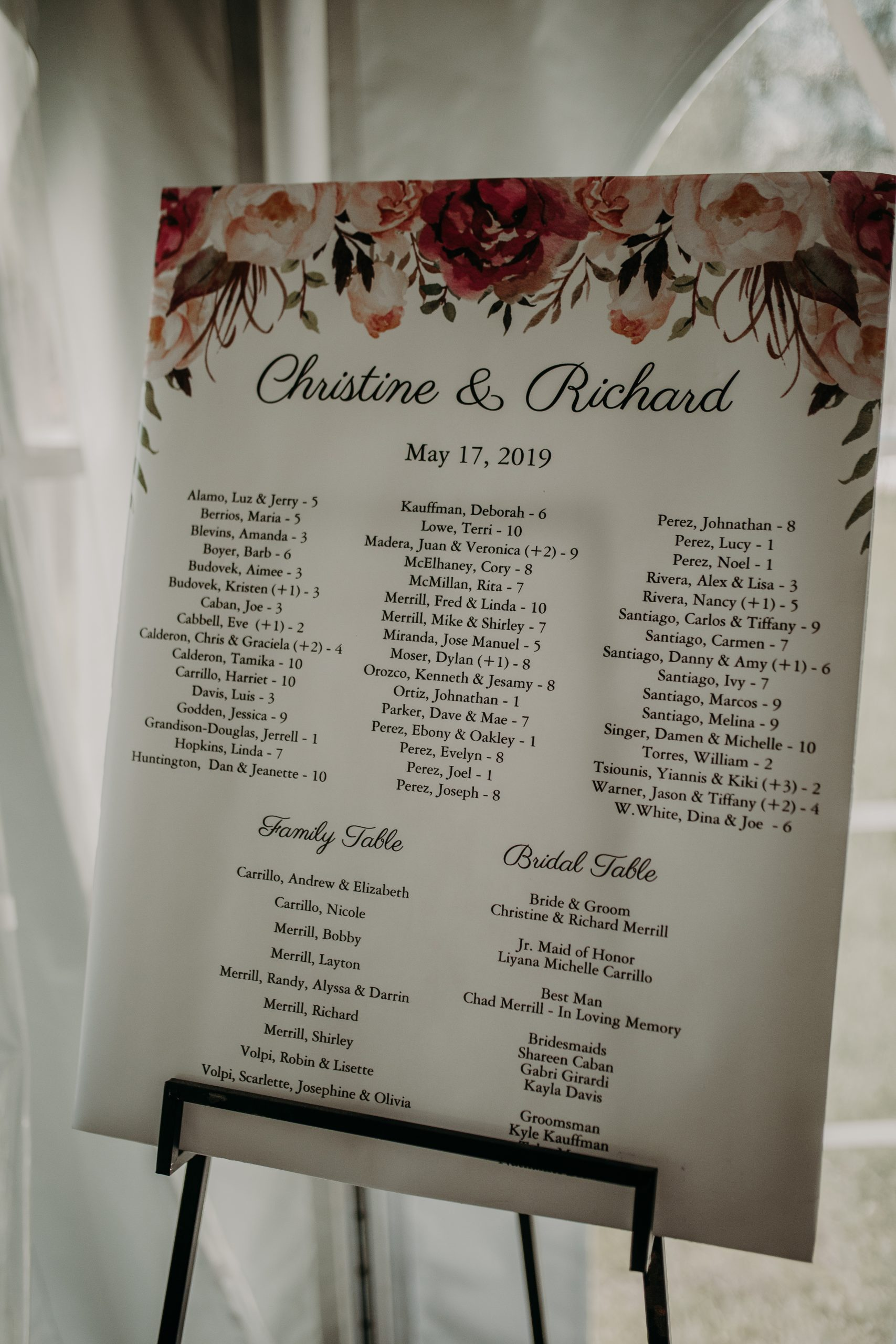 A simple printed up guest seating chart is an easy way to get the point across without spending a pretty penny. Christine and Richard wed on the Chestnut Hill Villa grounds on May of 2019. This organic ethereal styled wedding was captured by Garnet Dahlia Photography and featured on Dream Weddings.
