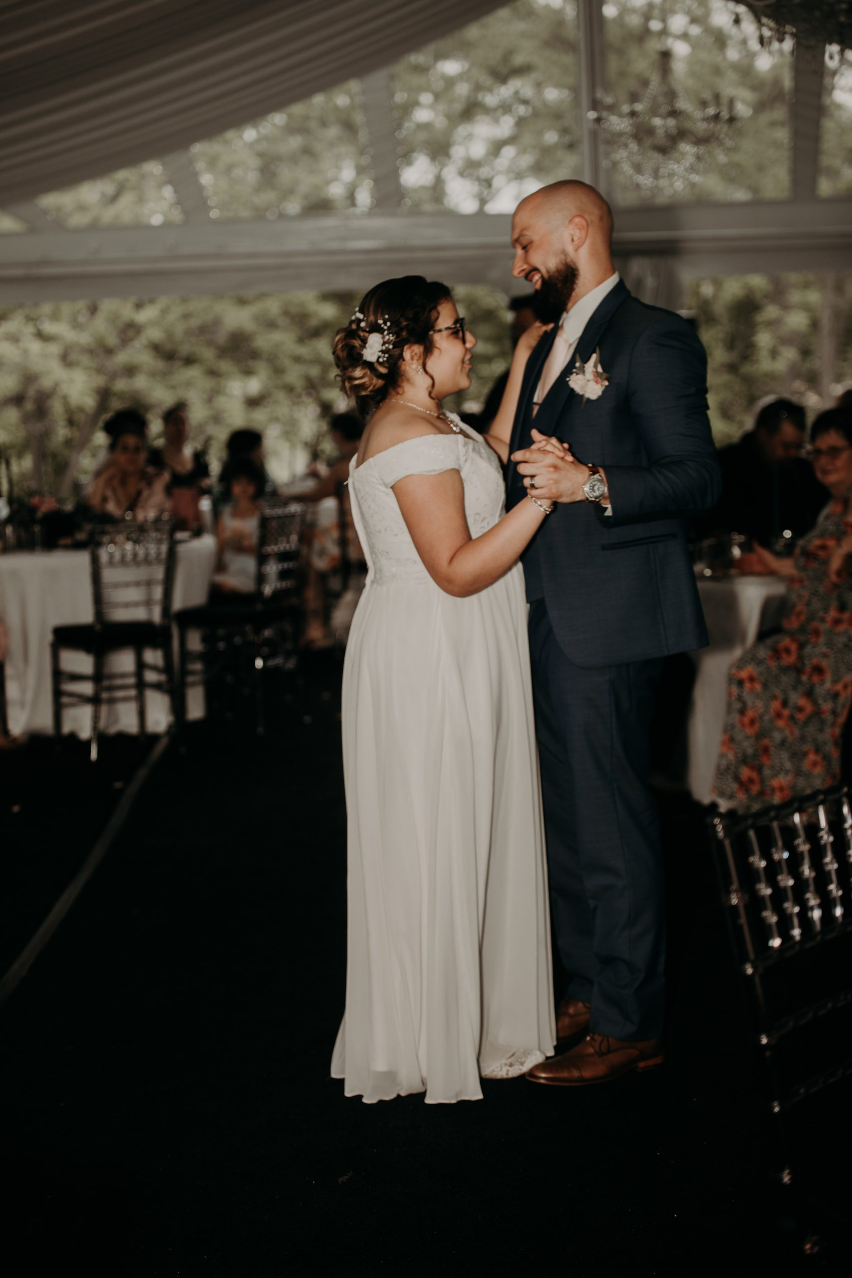 New daddy and daughter dance to top off the bride and her father dancing prior. Christine and Richard wed on the Chestnut Hill Villa grounds on May of 2019. This organic ethereal styled wedding was captured by Garnet Dahlia Photography and featured on Dream Weddings.