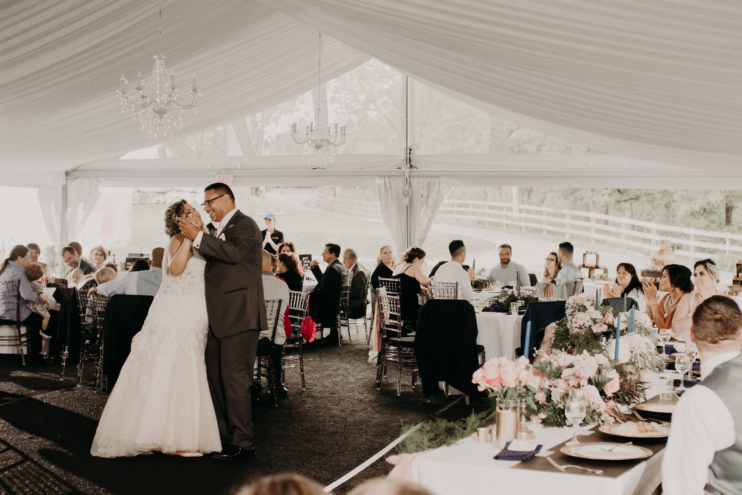 Daddy daughter dance to start off the reception. Christine and Richard wed on the Chestnut Hill Villa grounds on May of 2019. This organic ethereal styled wedding was captured by Garnet Dahlia Photography and featured on Dream Weddings.
