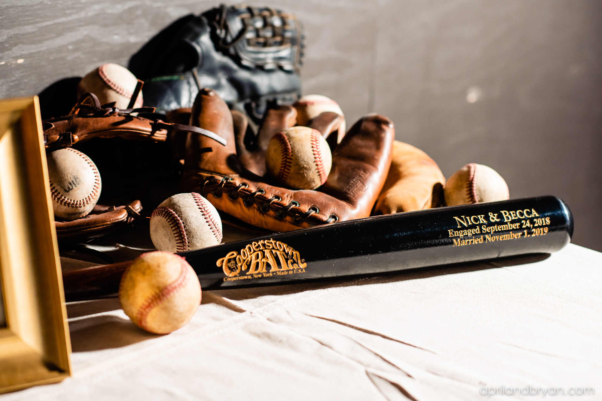 Cooperstown Bat Co. played a part in the couple's special day with a custom engraved bat for their special day. Nicholas and Rebecca Fasnacht tie the not at Tellus360 on November 1, 2019. Captured by April & Bryan Photography and featured on Dream Weddings.